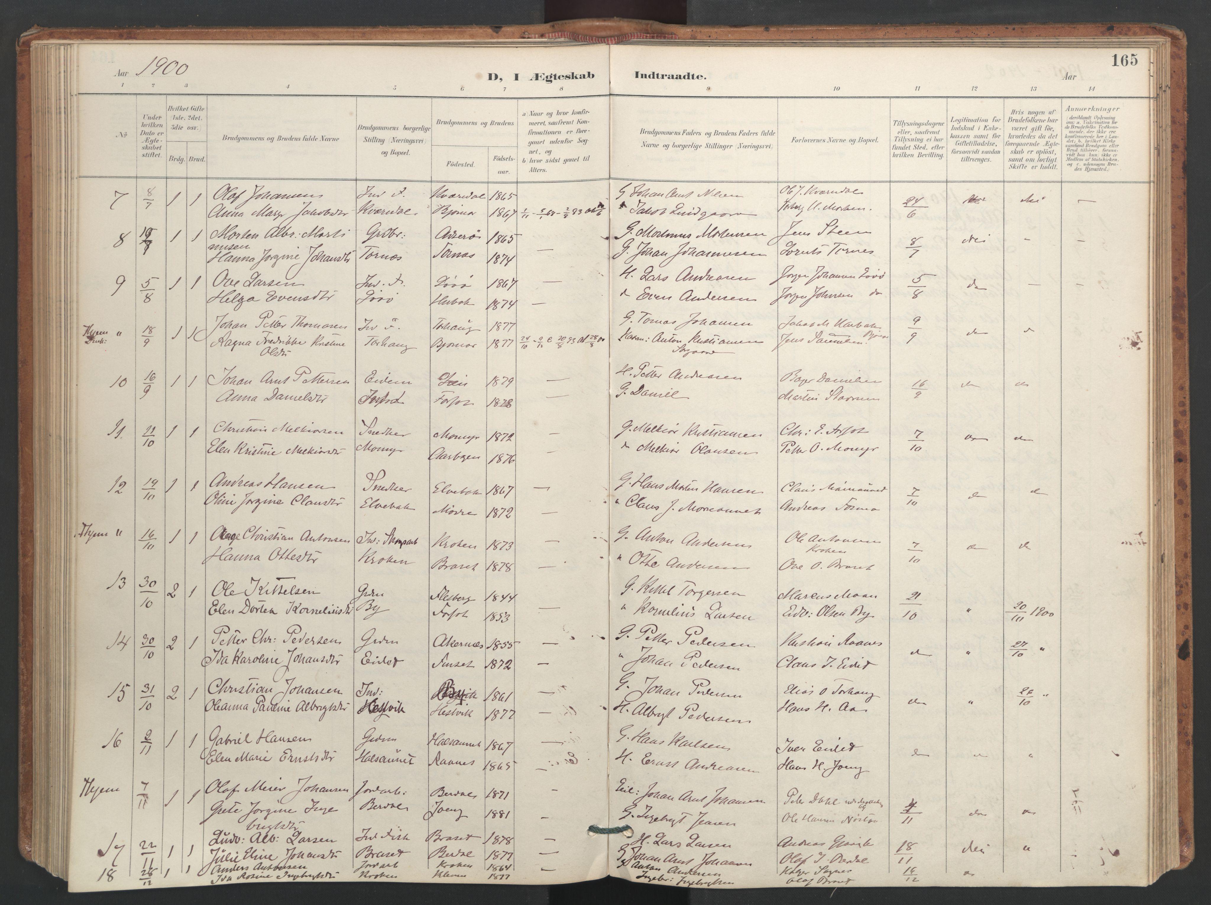 SAT, Ministerialprotokoller, klokkerbøker og fødselsregistre - Sør-Trøndelag, 655/L0681: Ministerialbok nr. 655A10, 1895-1907, s. 165