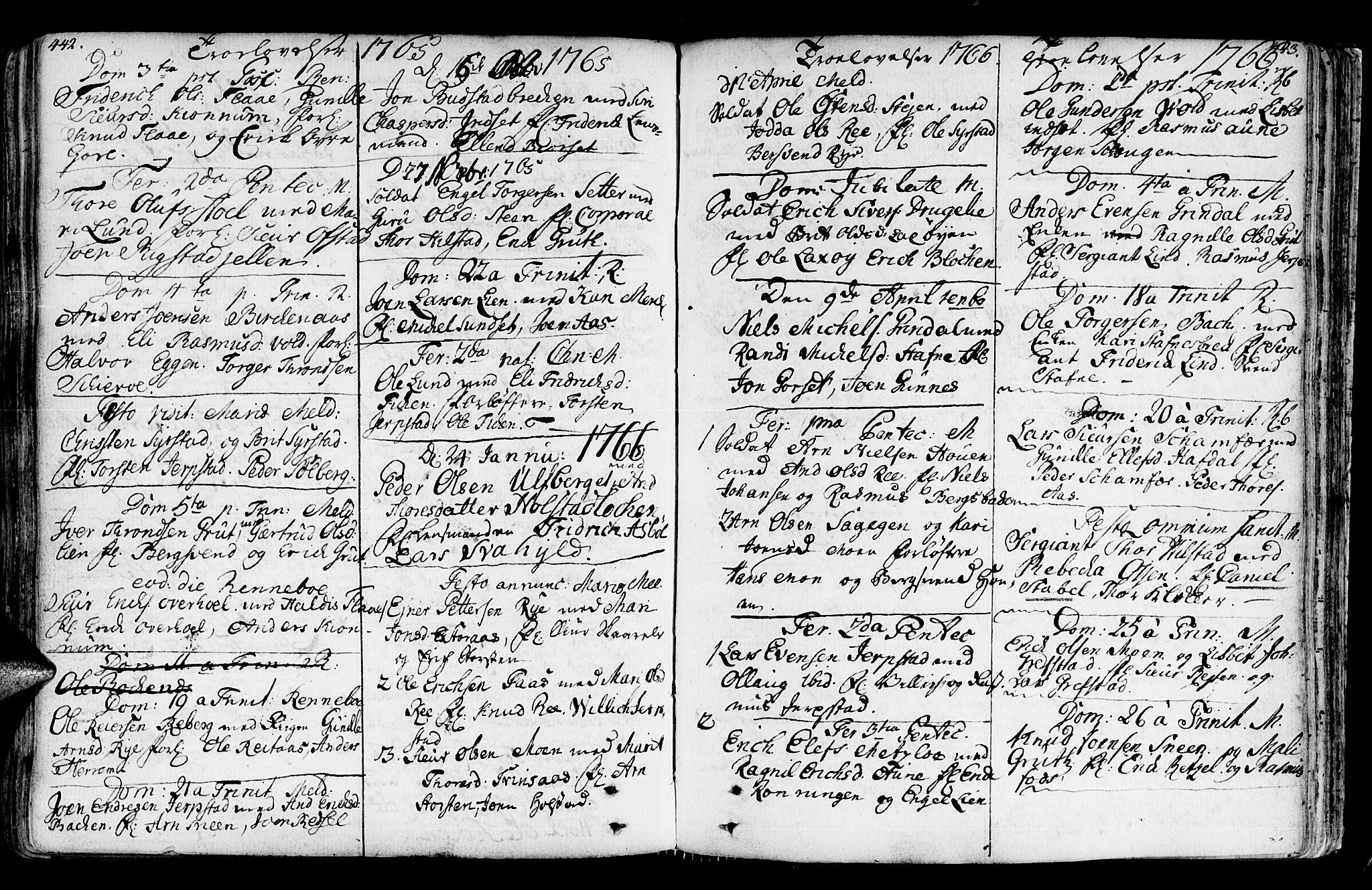 SAT, Ministerialprotokoller, klokkerbøker og fødselsregistre - Sør-Trøndelag, 672/L0851: Ministerialbok nr. 672A04, 1751-1775, s. 442-443