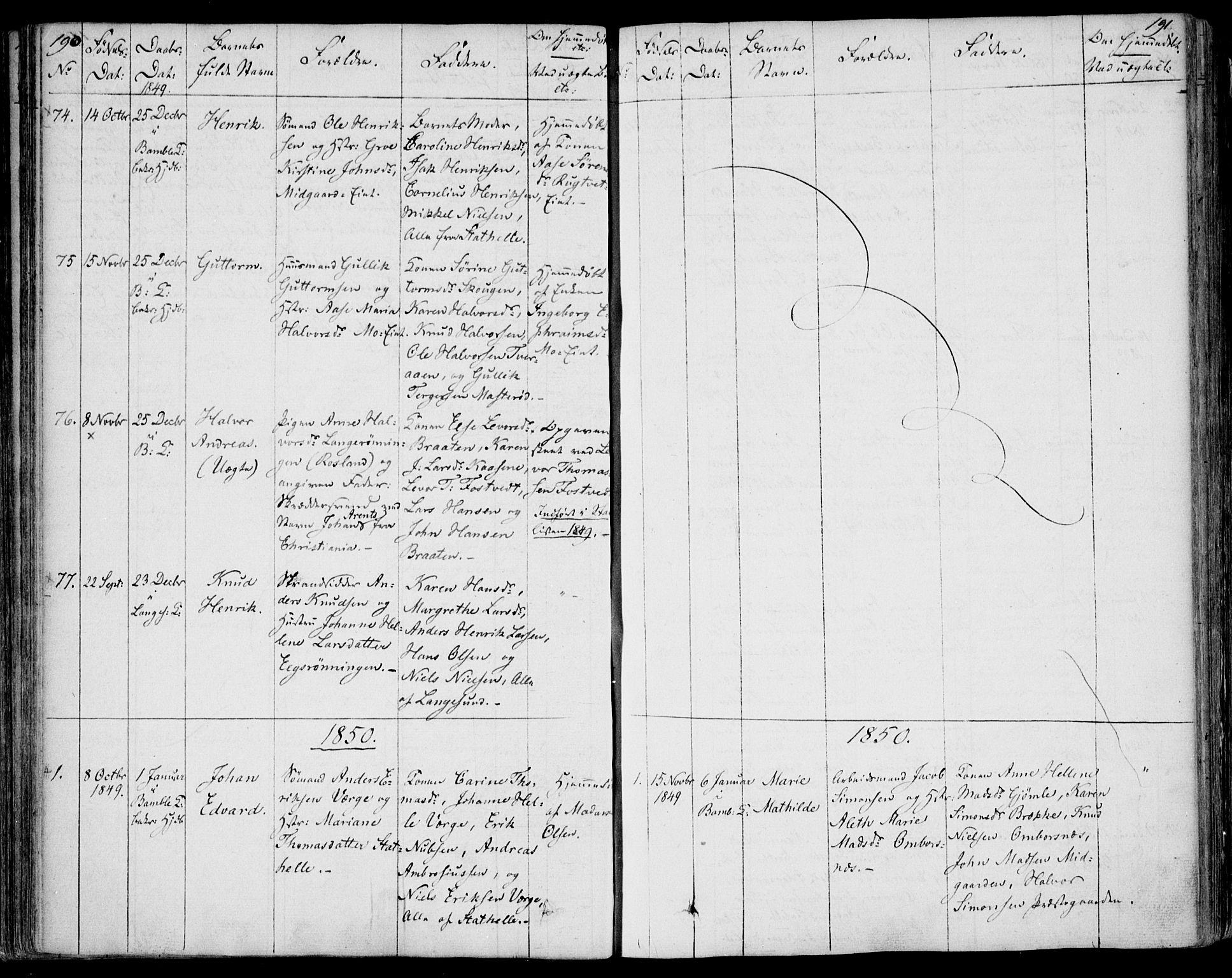 SAKO, Bamble kirkebøker, F/Fa/L0004: Ministerialbok nr. I 4, 1834-1853, s. 190-191