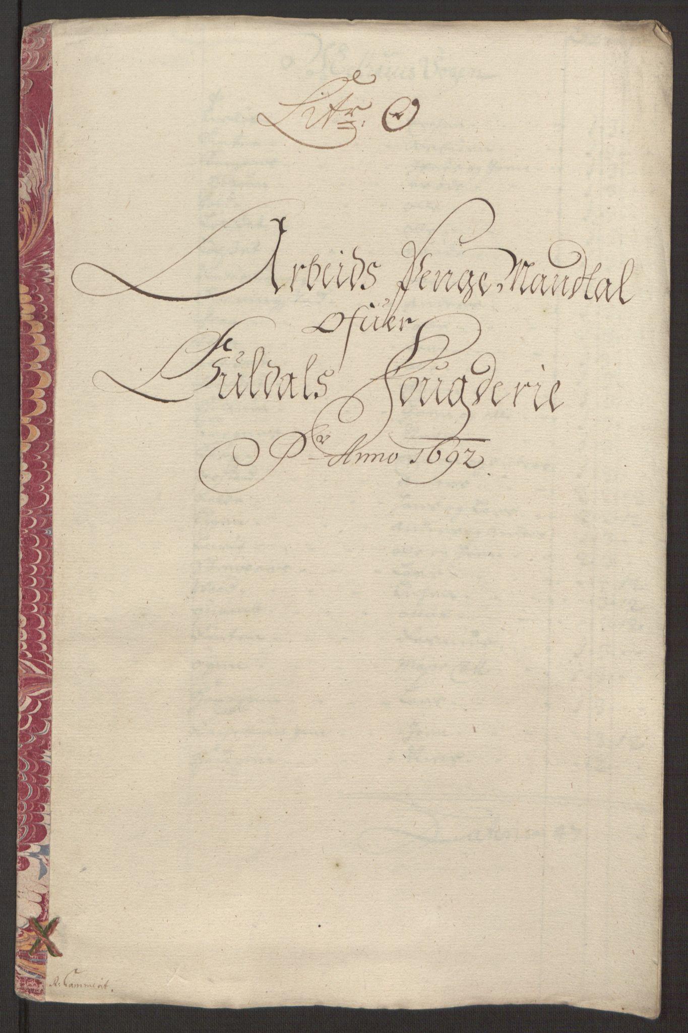RA, Rentekammeret inntil 1814, Reviderte regnskaper, Fogderegnskap, R59/L3942: Fogderegnskap Gauldal, 1692, s. 181