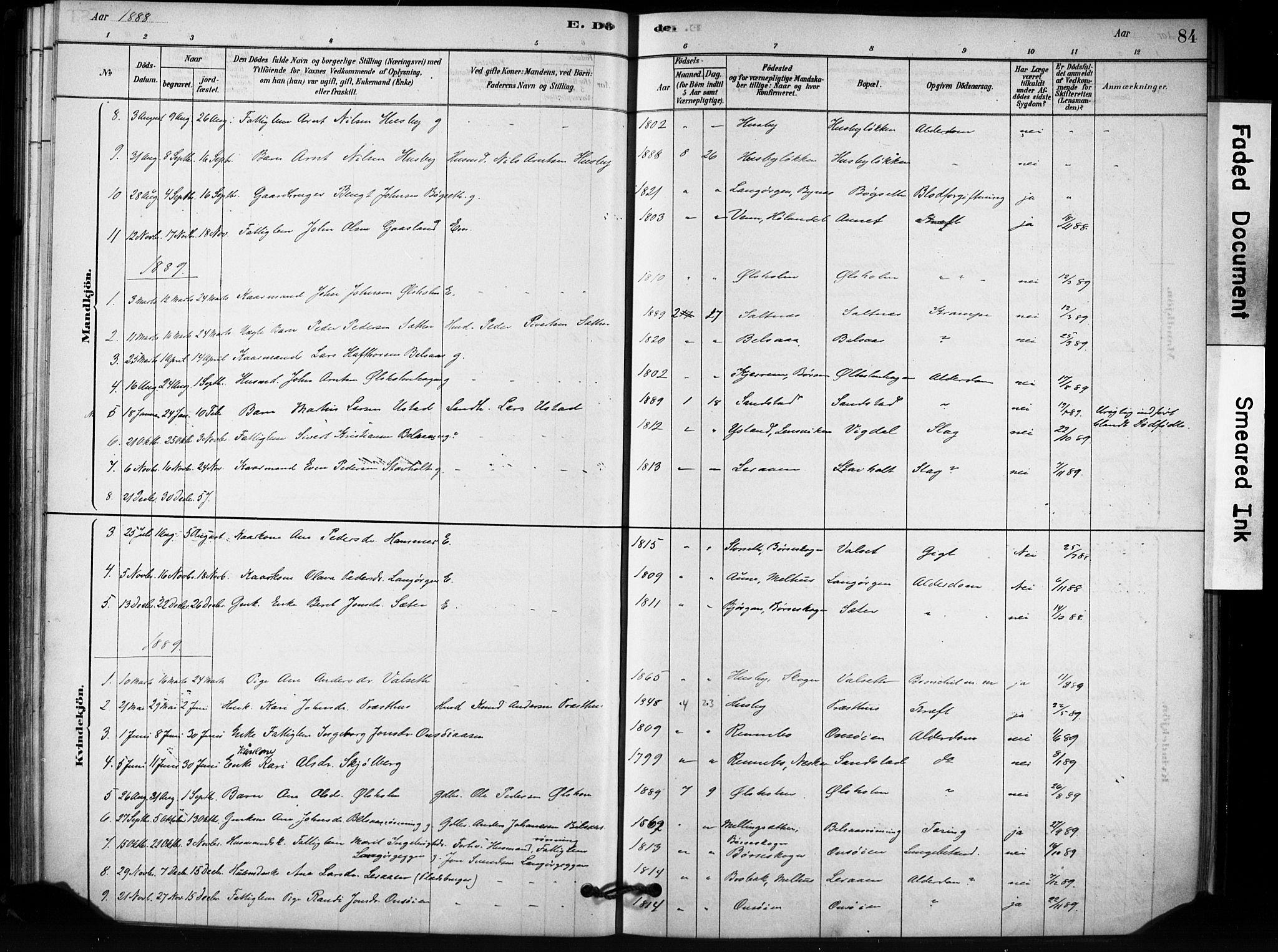 SAT, Ministerialprotokoller, klokkerbøker og fødselsregistre - Sør-Trøndelag, 666/L0786: Ministerialbok nr. 666A04, 1878-1895, s. 84