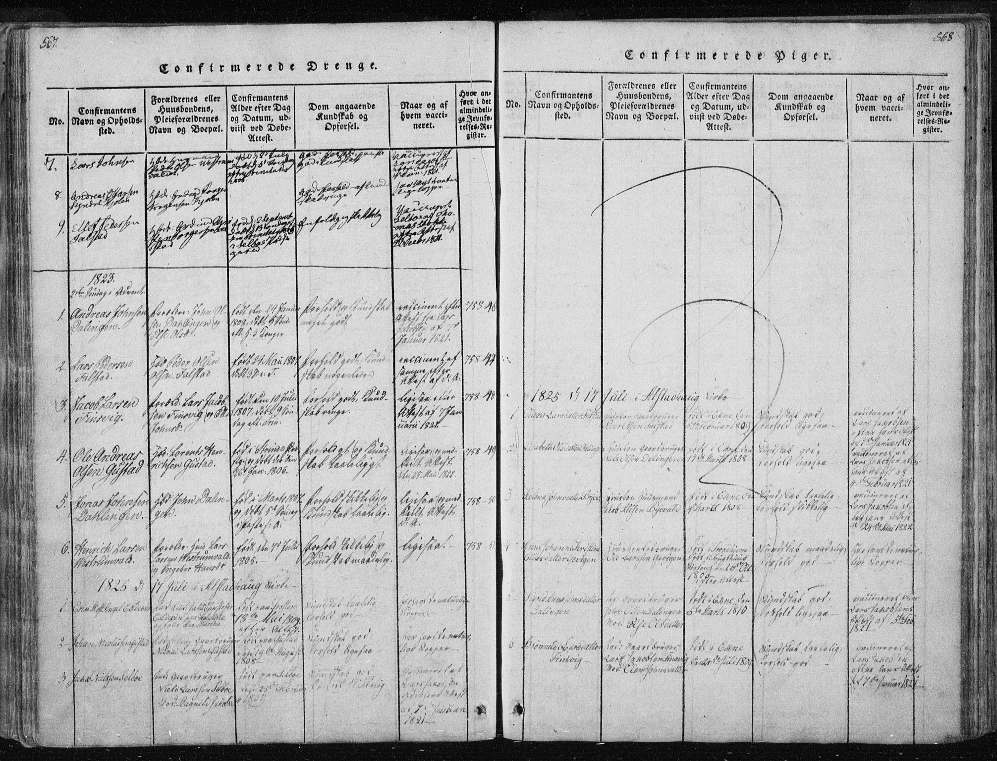 SAT, Ministerialprotokoller, klokkerbøker og fødselsregistre - Nord-Trøndelag, 717/L0148: Ministerialbok nr. 717A04 /3, 1816-1825, s. 567-568