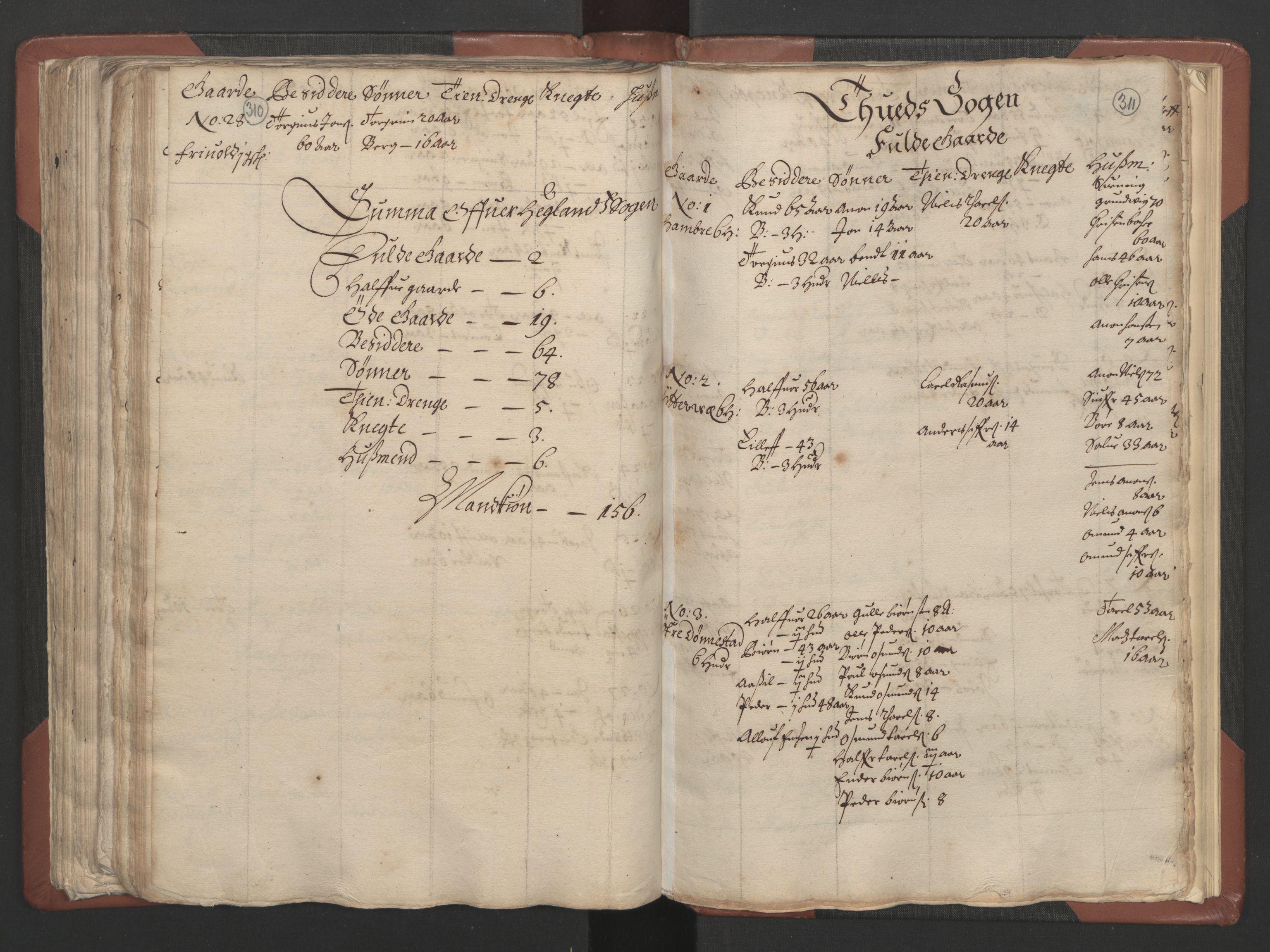 RA, Fogdenes og sorenskrivernes manntall 1664-1666, nr. 9: Mandal len, 1664-1666, s. 310-311