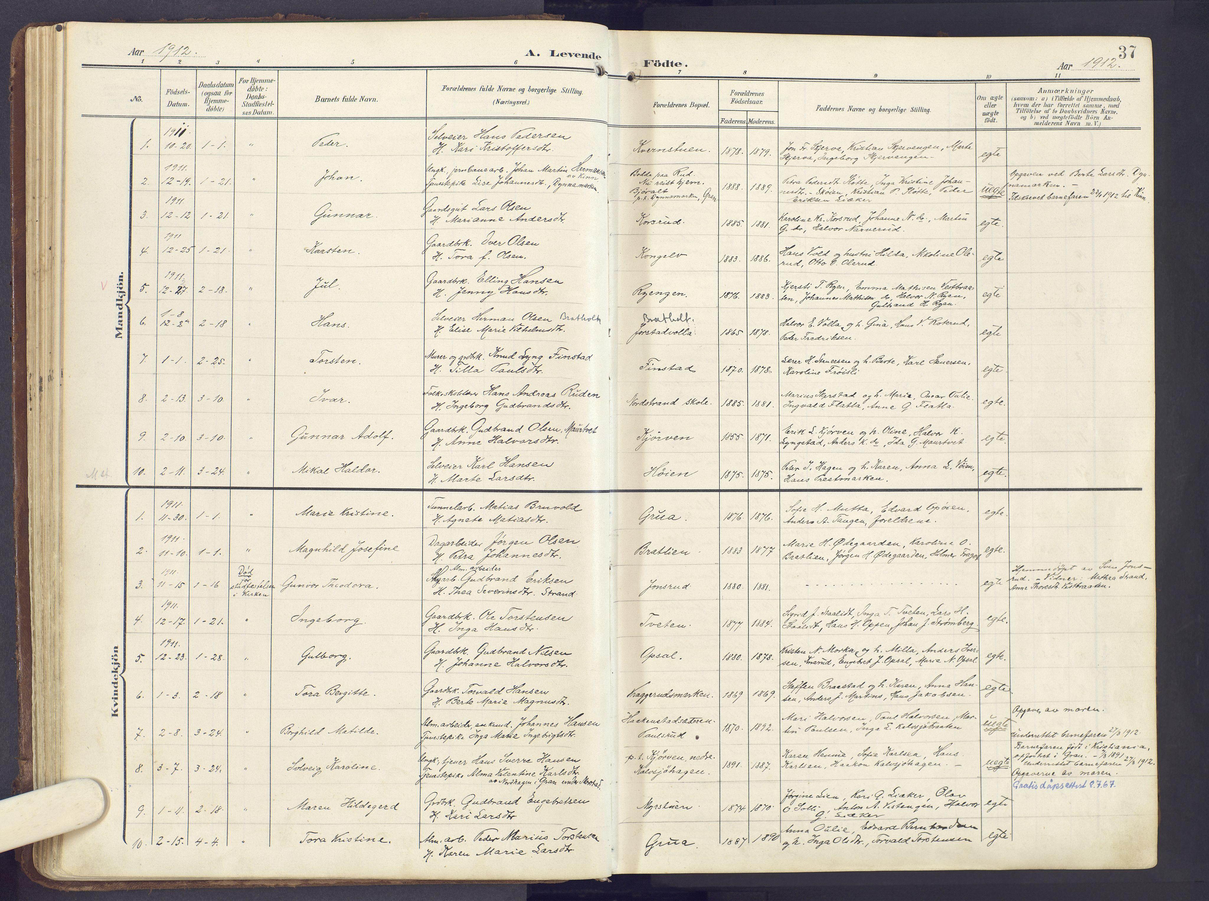 SAH, Lunner prestekontor, H/Ha/Haa/L0001: Ministerialbok nr. 1, 1907-1922, s. 37