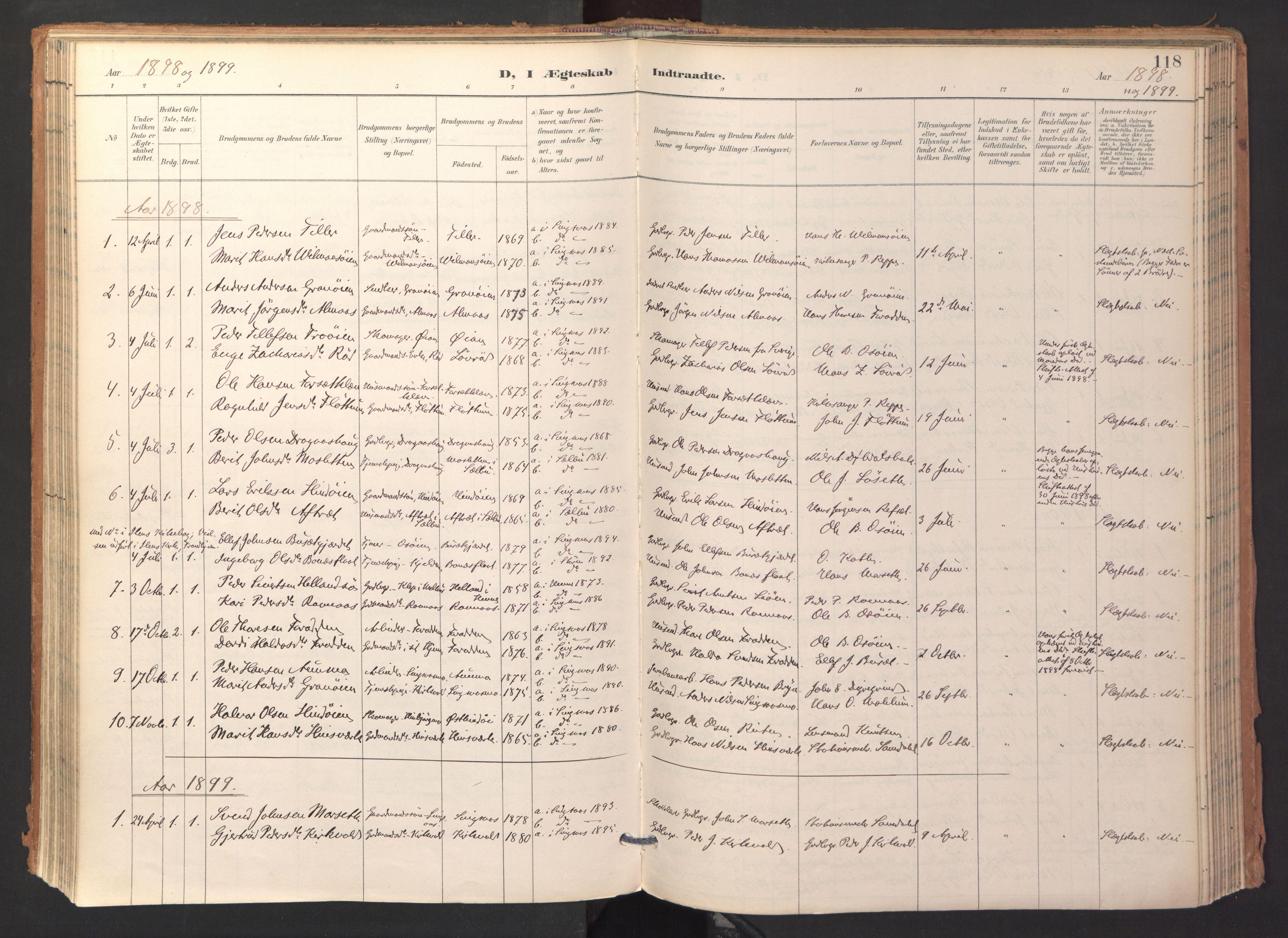 SAT, Ministerialprotokoller, klokkerbøker og fødselsregistre - Sør-Trøndelag, 688/L1025: Ministerialbok nr. 688A02, 1891-1909, s. 118