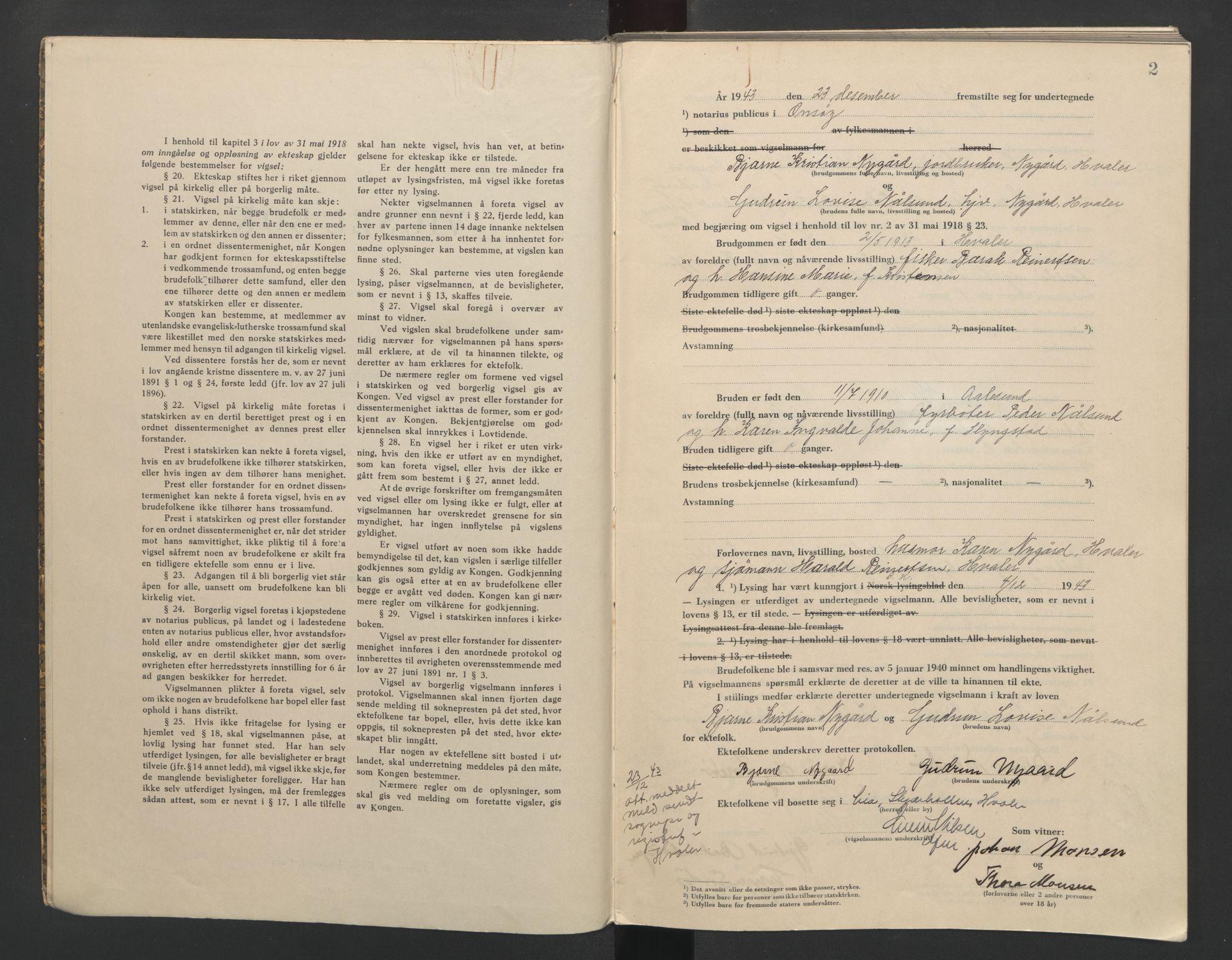 SAO, Onsøy sorenskriveri, L/La/L0004: Vigselsbok, 1943-1944, s. 2