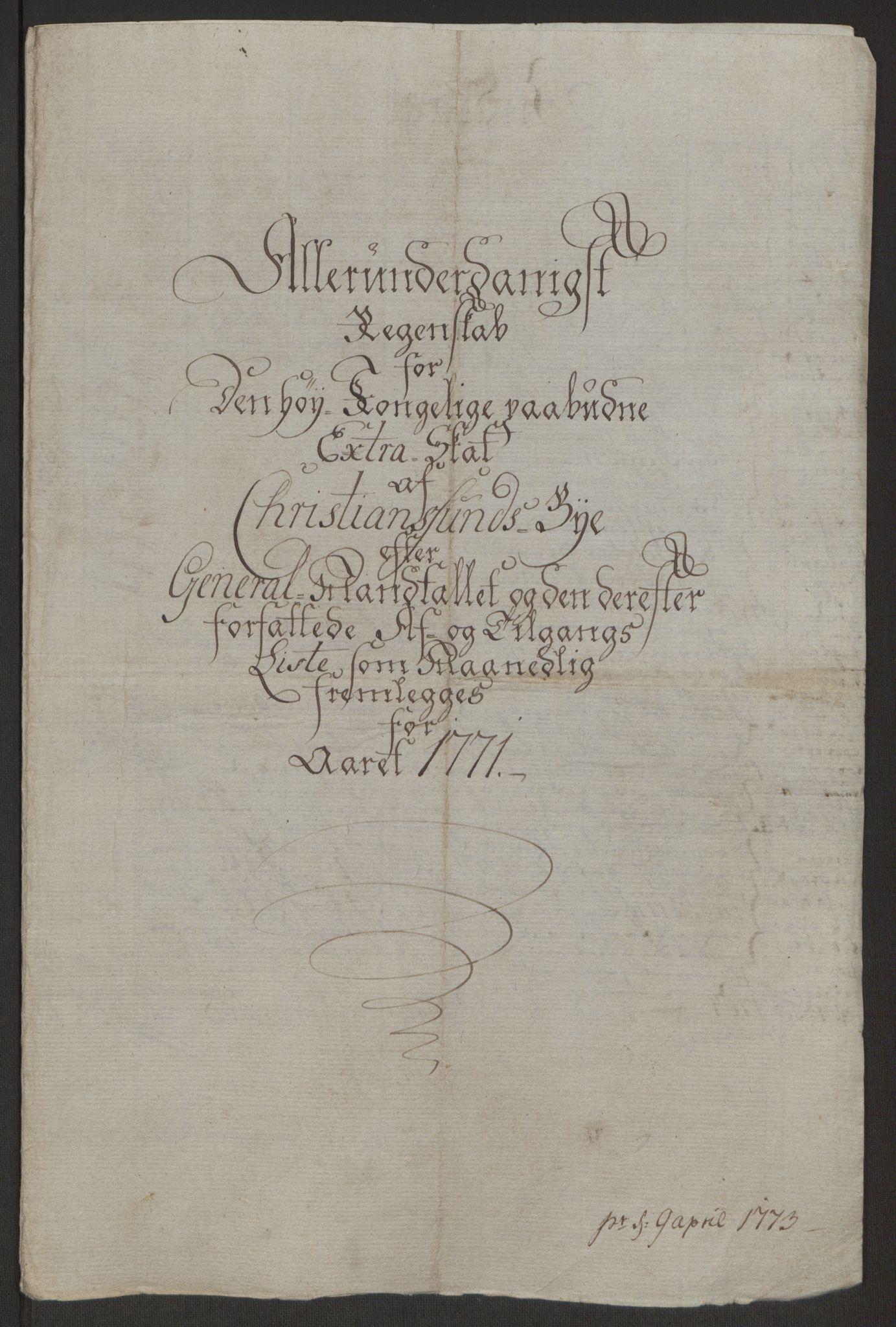 RA, Rentekammeret inntil 1814, Reviderte regnskaper, Byregnskaper, R/Rr/L0495: [R1] Kontribusjonsregnskap, 1762-1772, s. 241