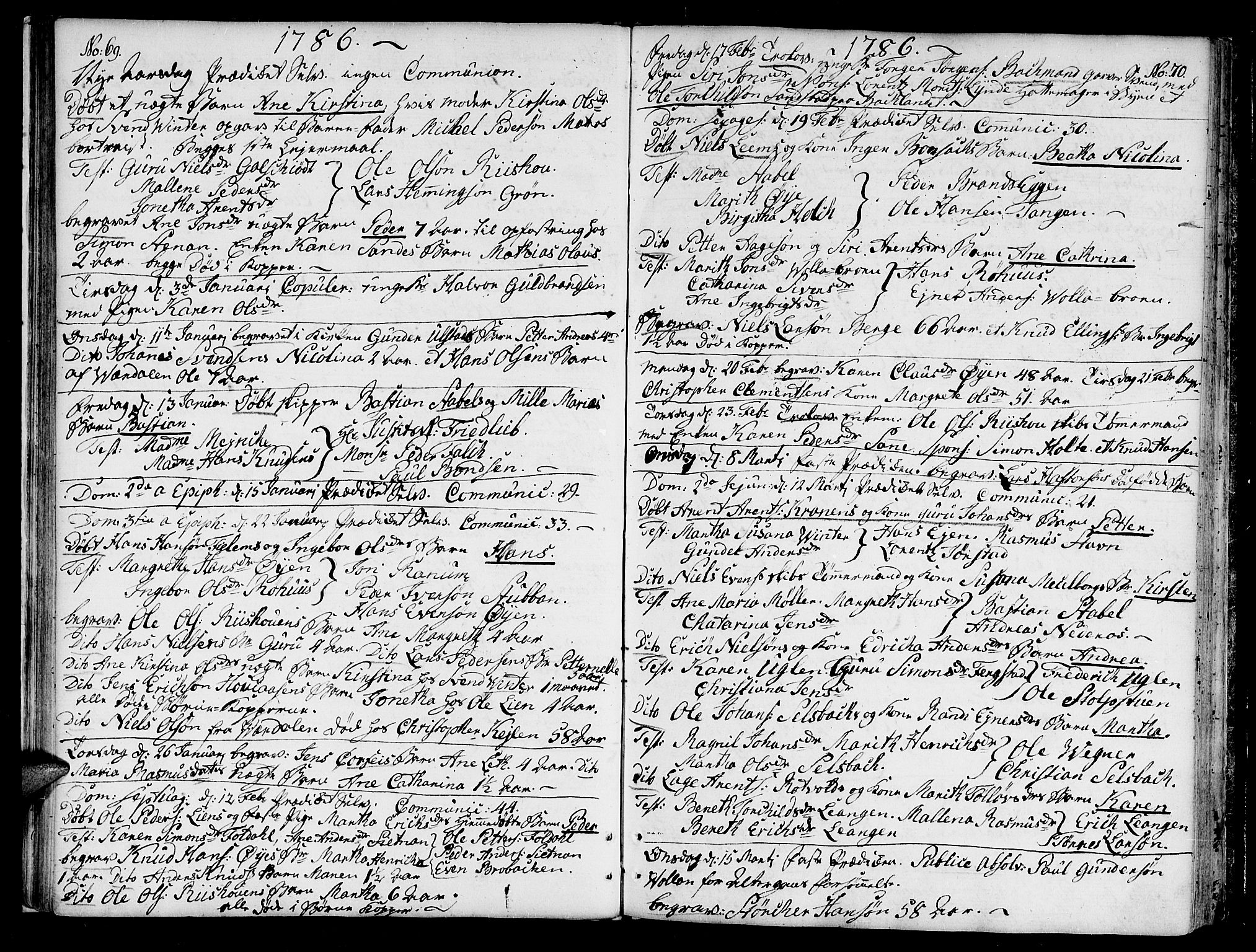 SAT, Ministerialprotokoller, klokkerbøker og fødselsregistre - Sør-Trøndelag, 604/L0180: Ministerialbok nr. 604A01, 1780-1797, s. 69-70