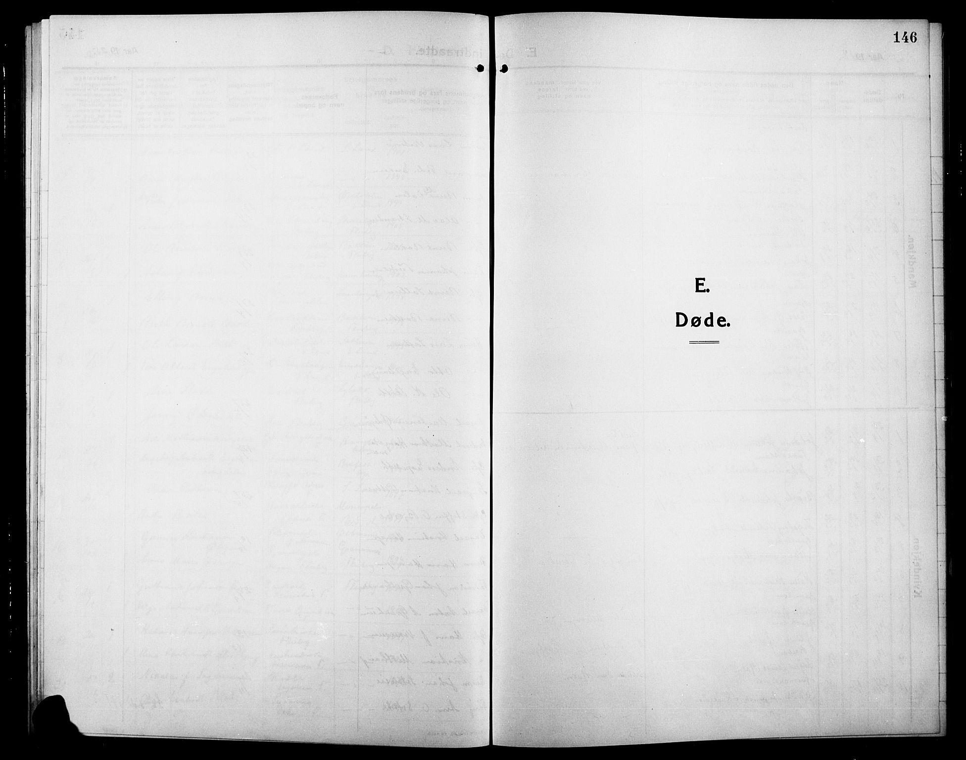 SAH, Søndre Land prestekontor, L/L0006: Klokkerbok nr. 6, 1912-1925, s. 146