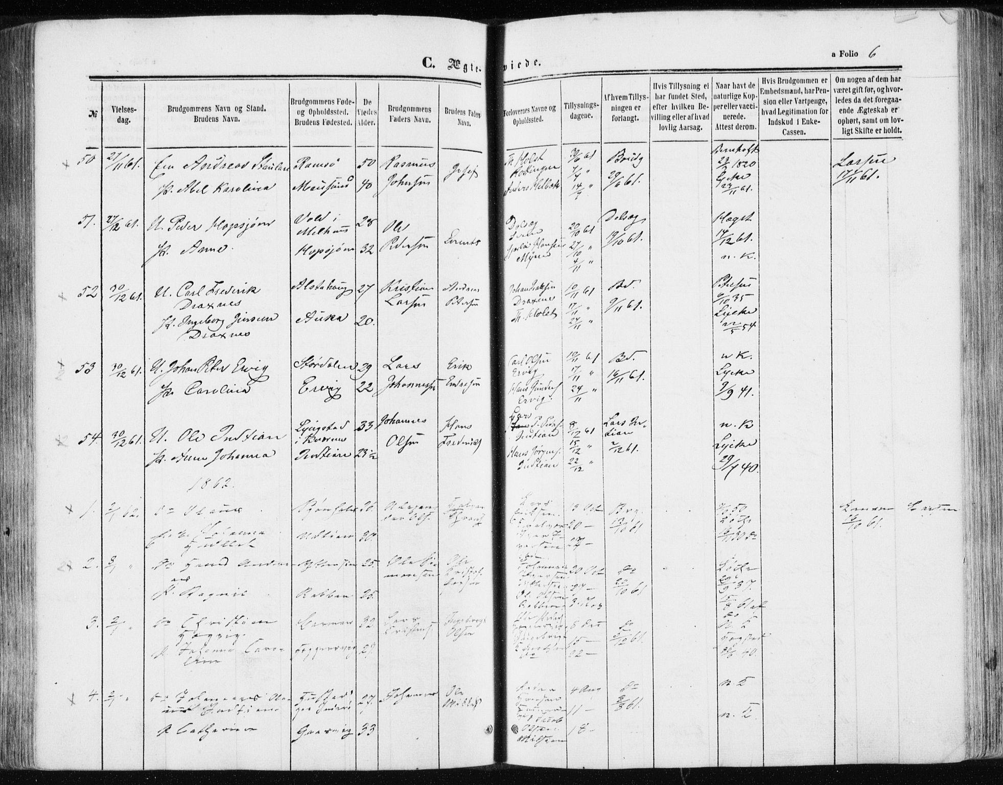 SAT, Ministerialprotokoller, klokkerbøker og fødselsregistre - Sør-Trøndelag, 634/L0531: Ministerialbok nr. 634A07, 1861-1870, s. 6