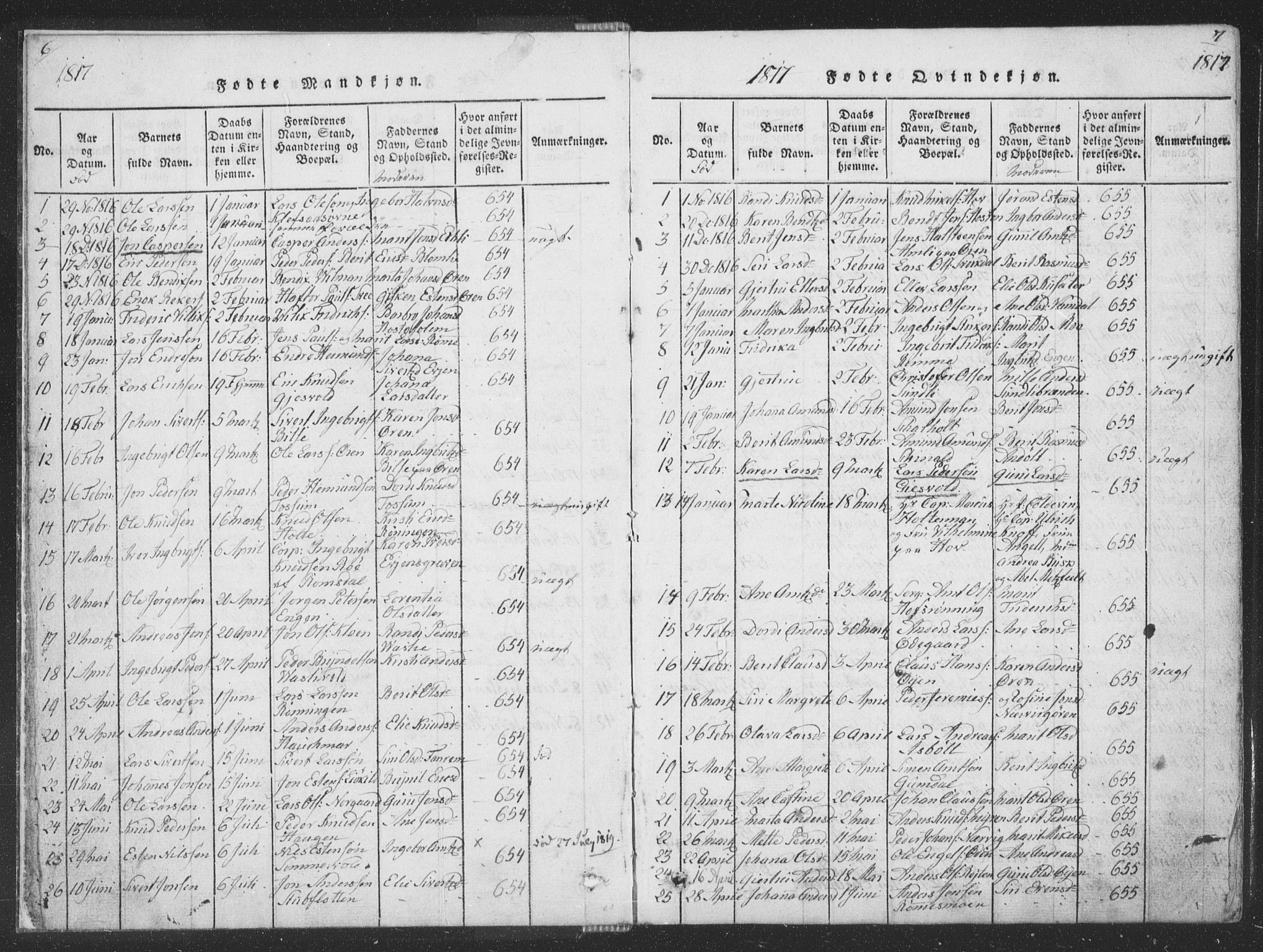 SAT, Ministerialprotokoller, klokkerbøker og fødselsregistre - Sør-Trøndelag, 668/L0816: Klokkerbok nr. 668C05, 1816-1893, s. 6-7