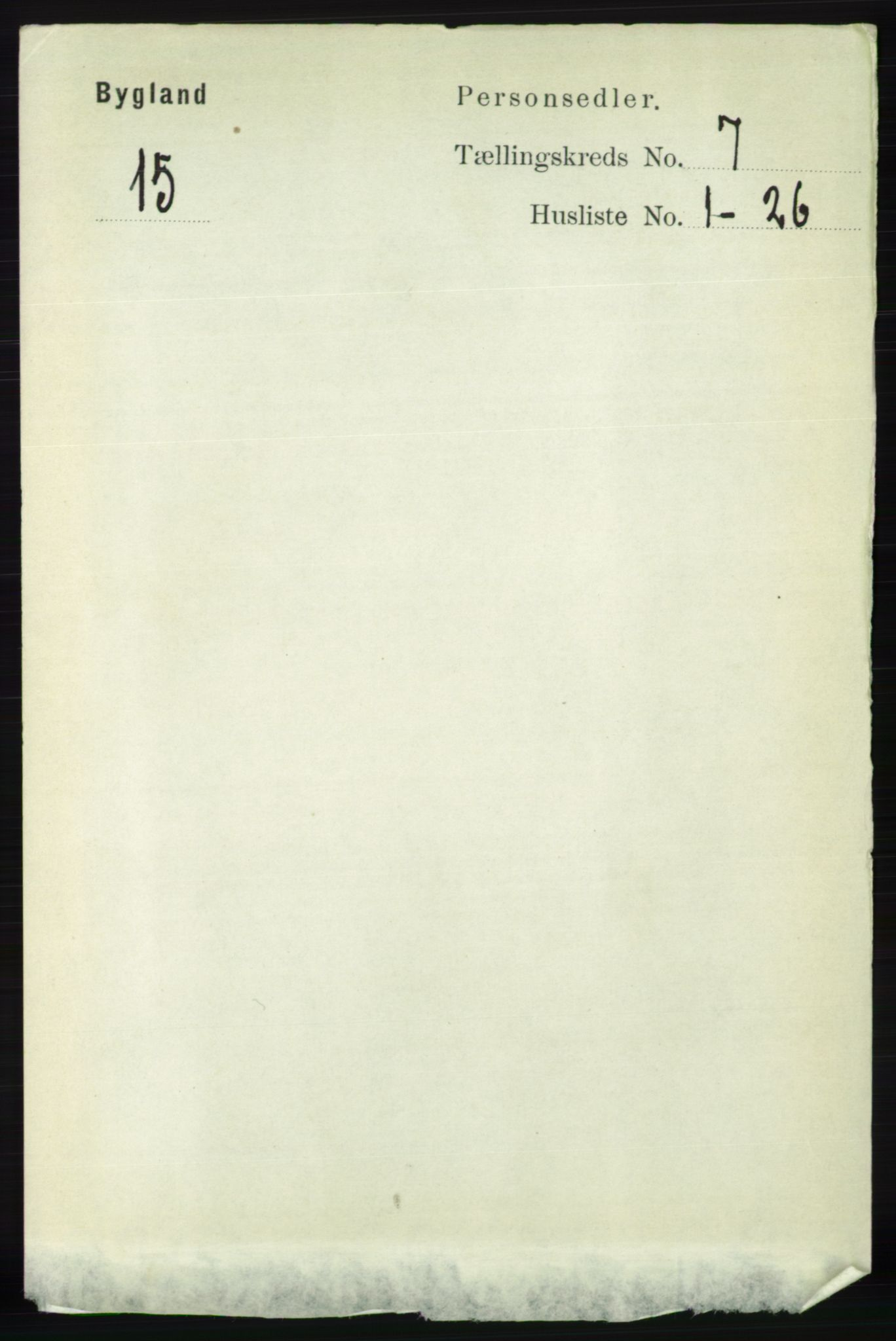 RA, Folketelling 1891 for 0938 Bygland herred, 1891, s. 1557