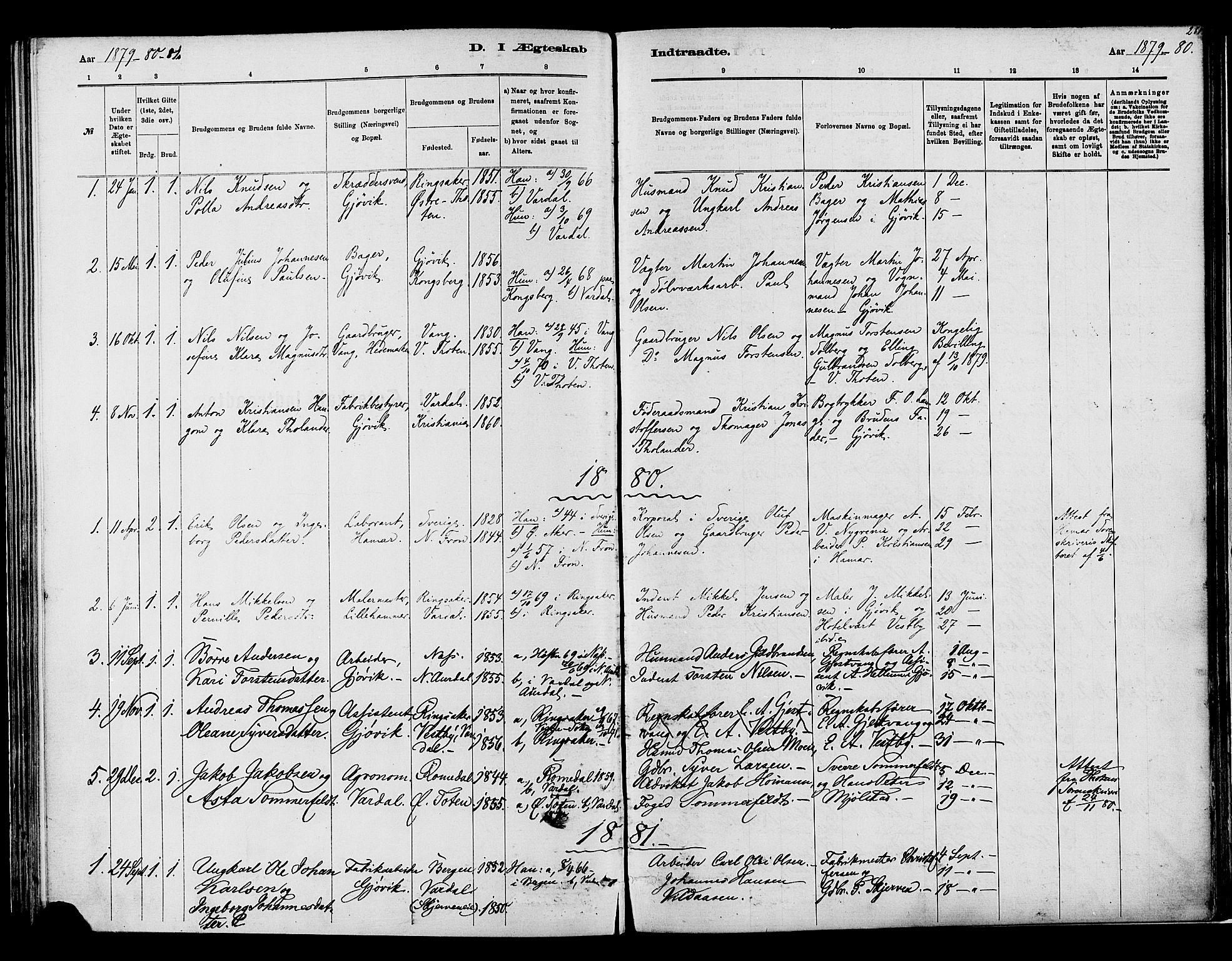 SAH, Vardal prestekontor, H/Ha/Haa/L0008: Ministerialbok nr. 8, 1878-1890, s. 281