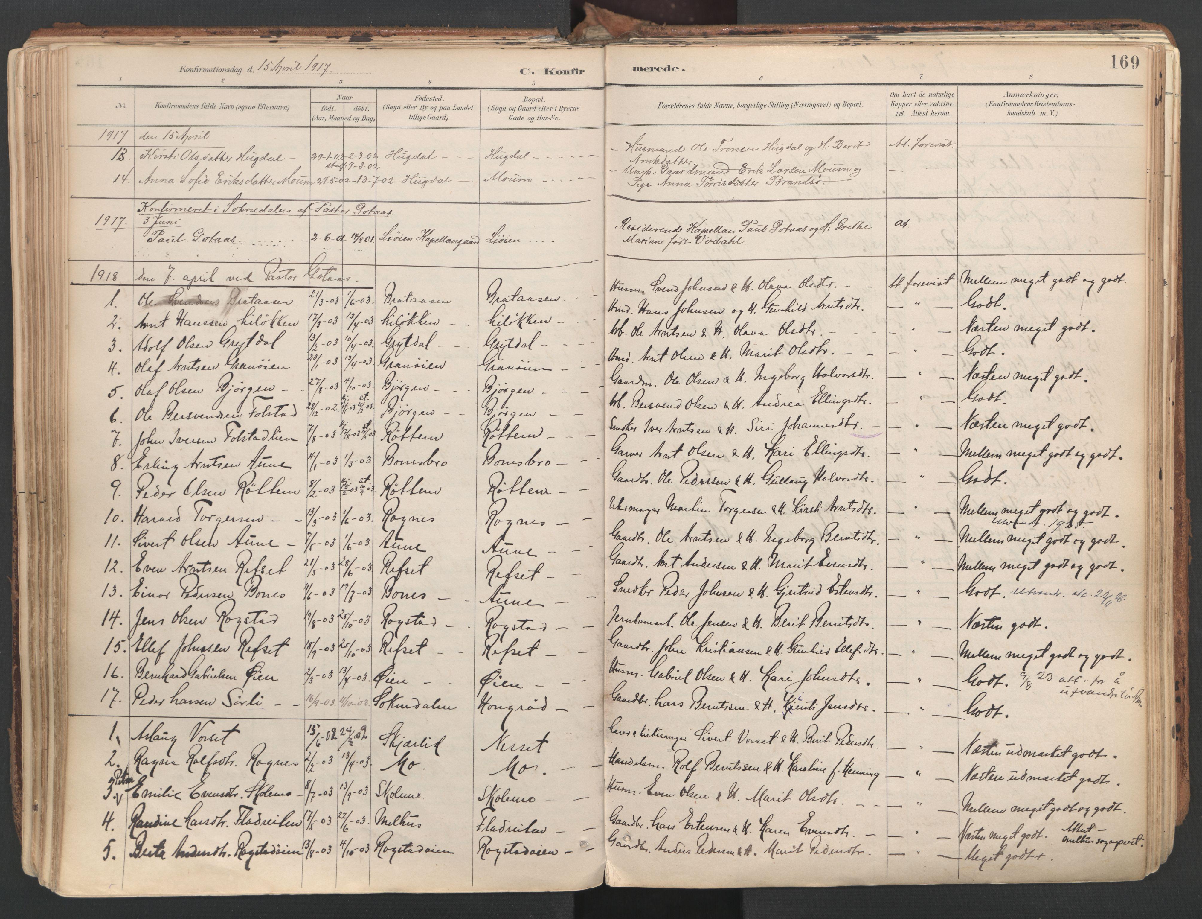 SAT, Ministerialprotokoller, klokkerbøker og fødselsregistre - Sør-Trøndelag, 687/L1004: Ministerialbok nr. 687A10, 1891-1923, s. 169