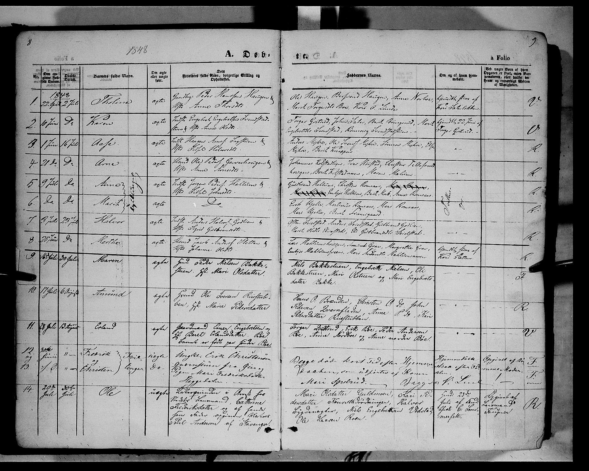SAH, Ringebu prestekontor, Ministerialbok nr. 6, 1848-1859, s. 8-9