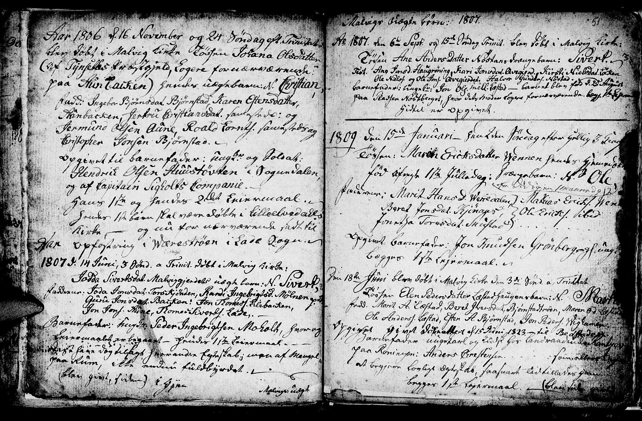 SAT, Ministerialprotokoller, klokkerbøker og fødselsregistre - Sør-Trøndelag, 616/L0419: Klokkerbok nr. 616C02, 1797-1816, s. 51
