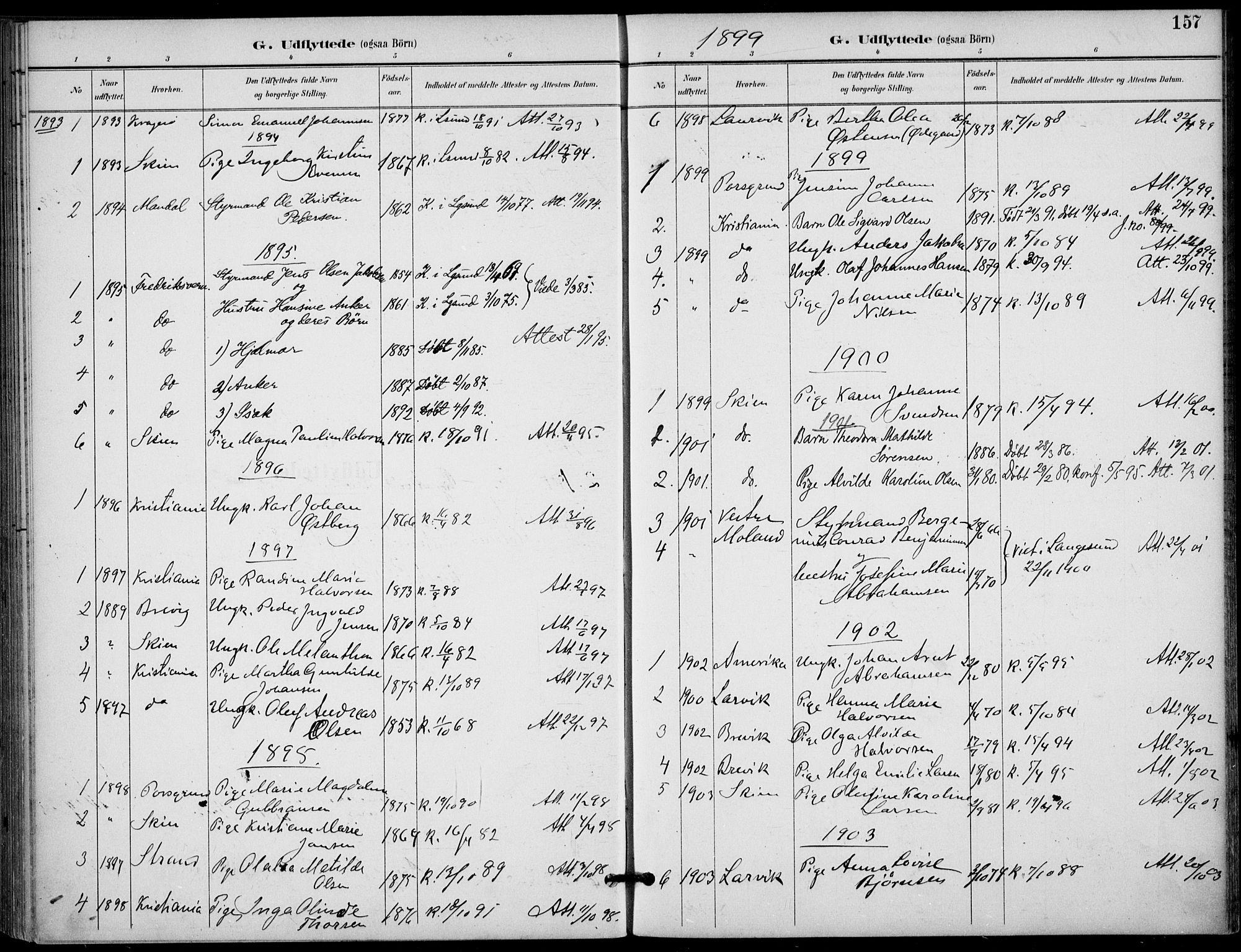 SAKO, Langesund kirkebøker, F/Fa/L0003: Ministerialbok nr. 3, 1893-1907, s. 157