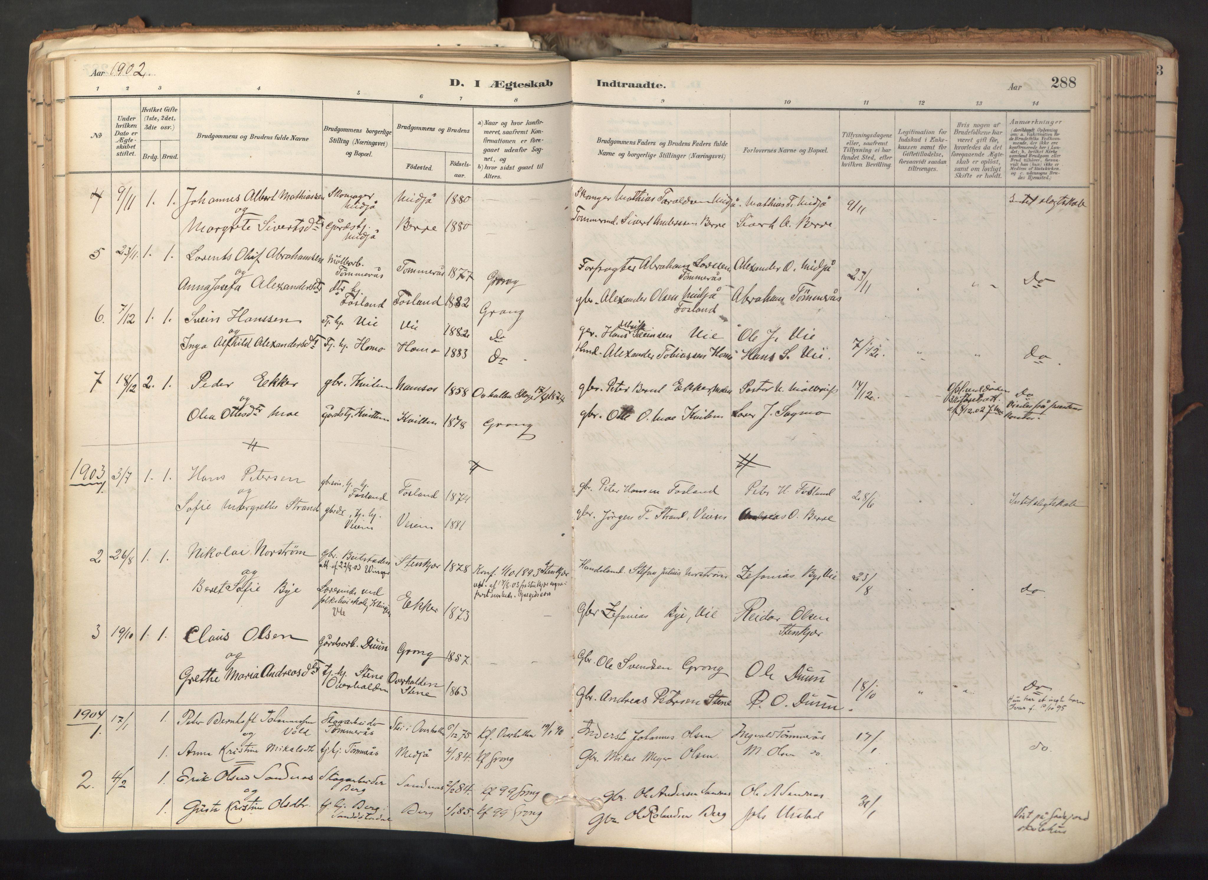 SAT, Ministerialprotokoller, klokkerbøker og fødselsregistre - Nord-Trøndelag, 758/L0519: Ministerialbok nr. 758A04, 1880-1926, s. 288