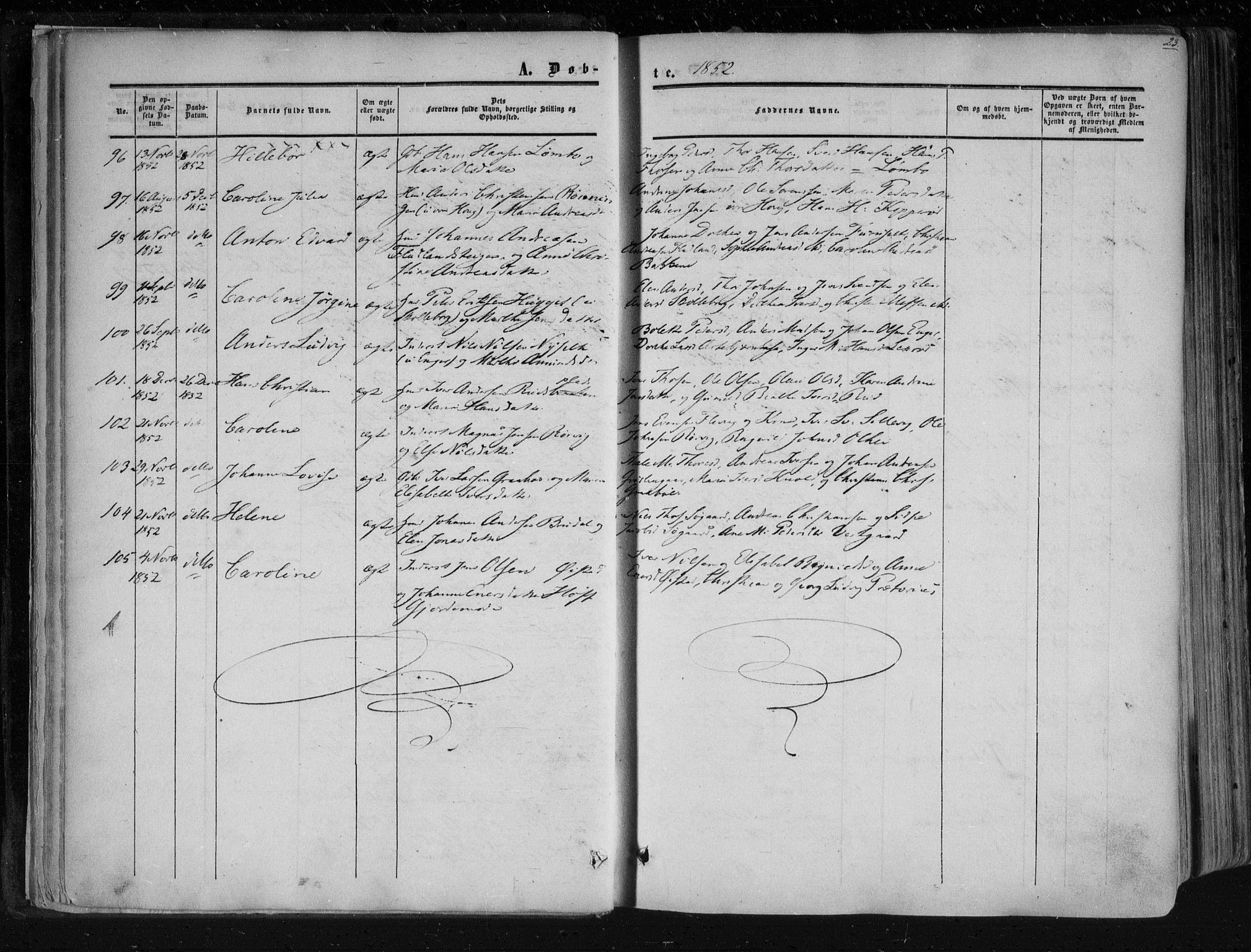 SAO, Aremark prestekontor Kirkebøker, F/Fc/L0003: Ministerialbok nr. III 3, 1850-1865, s. 23