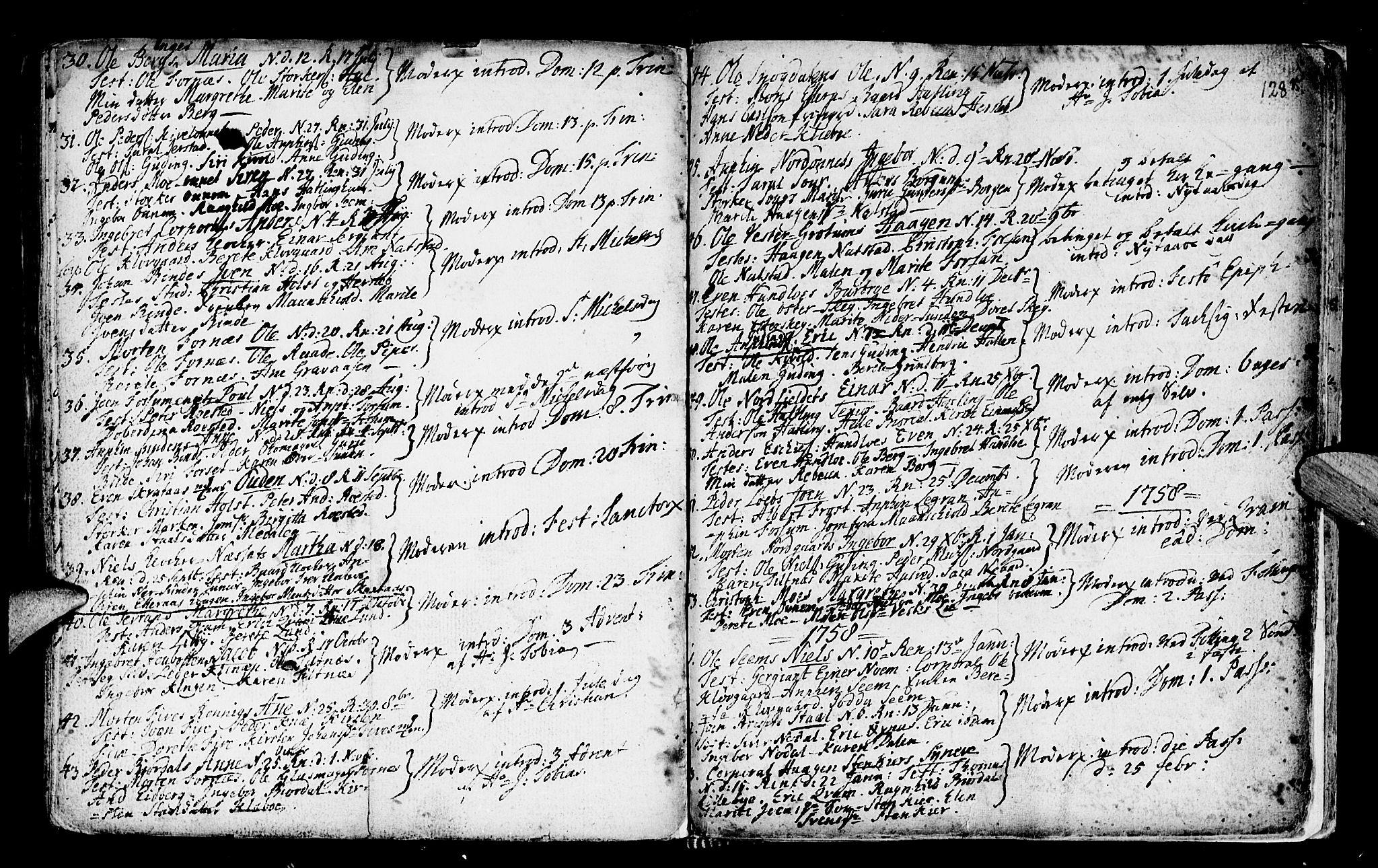 SAT, Ministerialprotokoller, klokkerbøker og fødselsregistre - Nord-Trøndelag, 746/L0439: Ministerialbok nr. 746A01, 1688-1759, s. 128q
