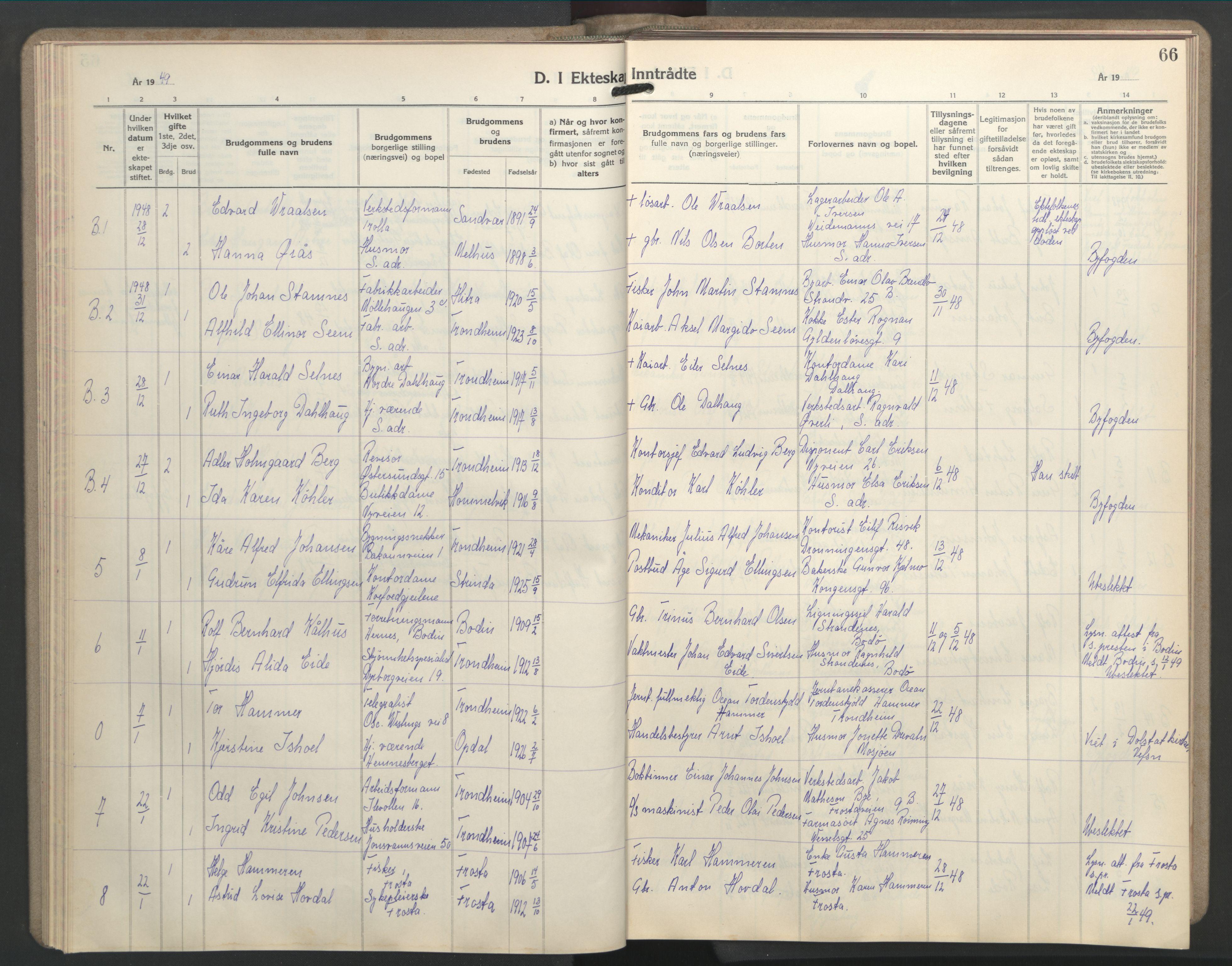 SAT, Ministerialprotokoller, klokkerbøker og fødselsregistre - Sør-Trøndelag, 603/L0177: Klokkerbok nr. 603C05, 1941-1952, s. 66