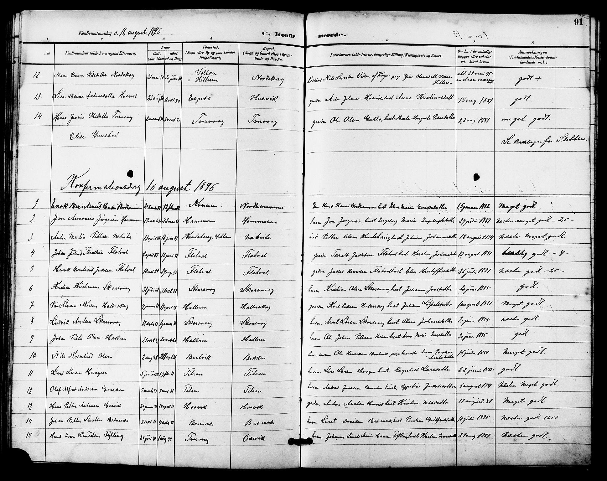 SAT, Ministerialprotokoller, klokkerbøker og fødselsregistre - Sør-Trøndelag, 641/L0598: Klokkerbok nr. 641C02, 1893-1910, s. 91