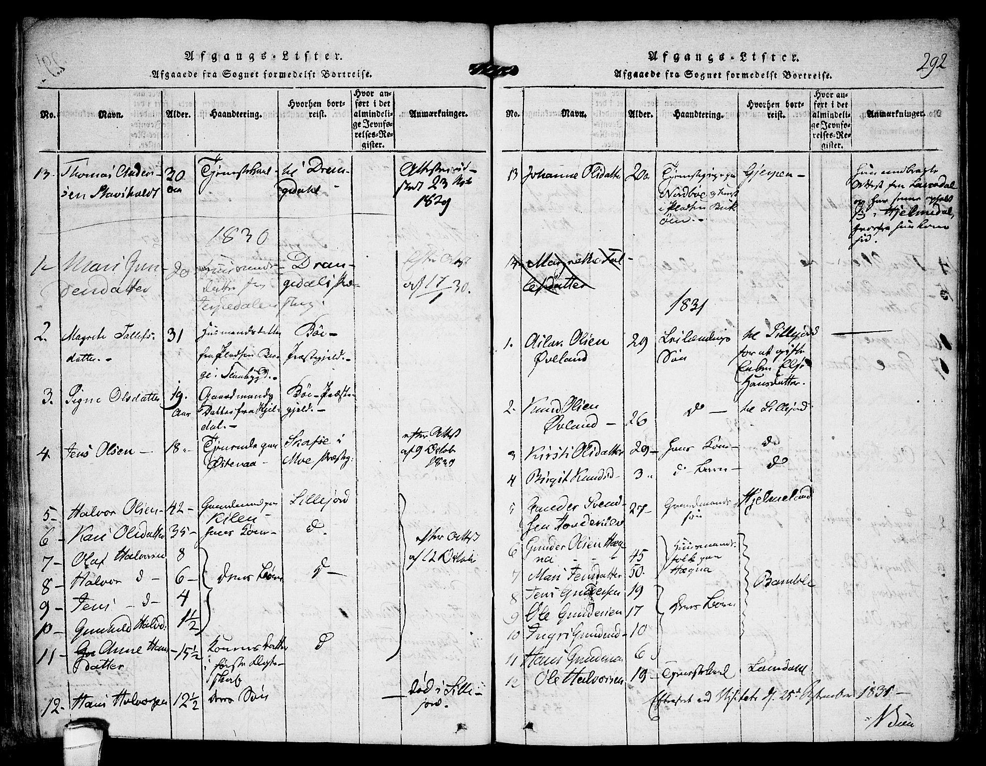 SAKO, Kviteseid kirkebøker, F/Fa/L0005: Ministerialbok nr. I 5, 1815-1836, s. 292