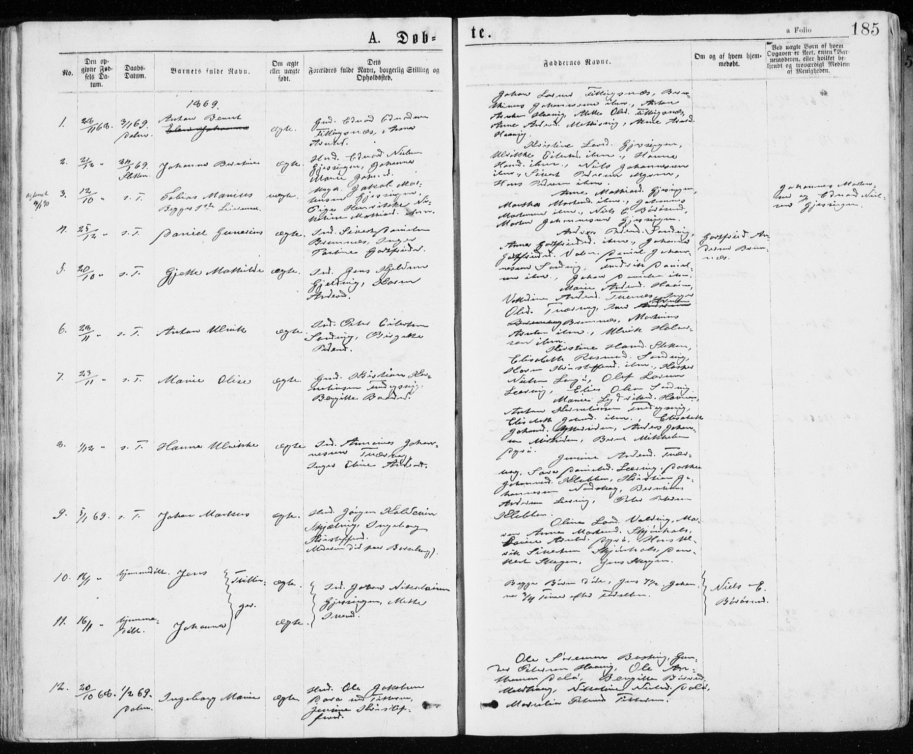 SAT, Ministerialprotokoller, klokkerbøker og fødselsregistre - Sør-Trøndelag, 640/L0576: Ministerialbok nr. 640A01, 1846-1876, s. 185