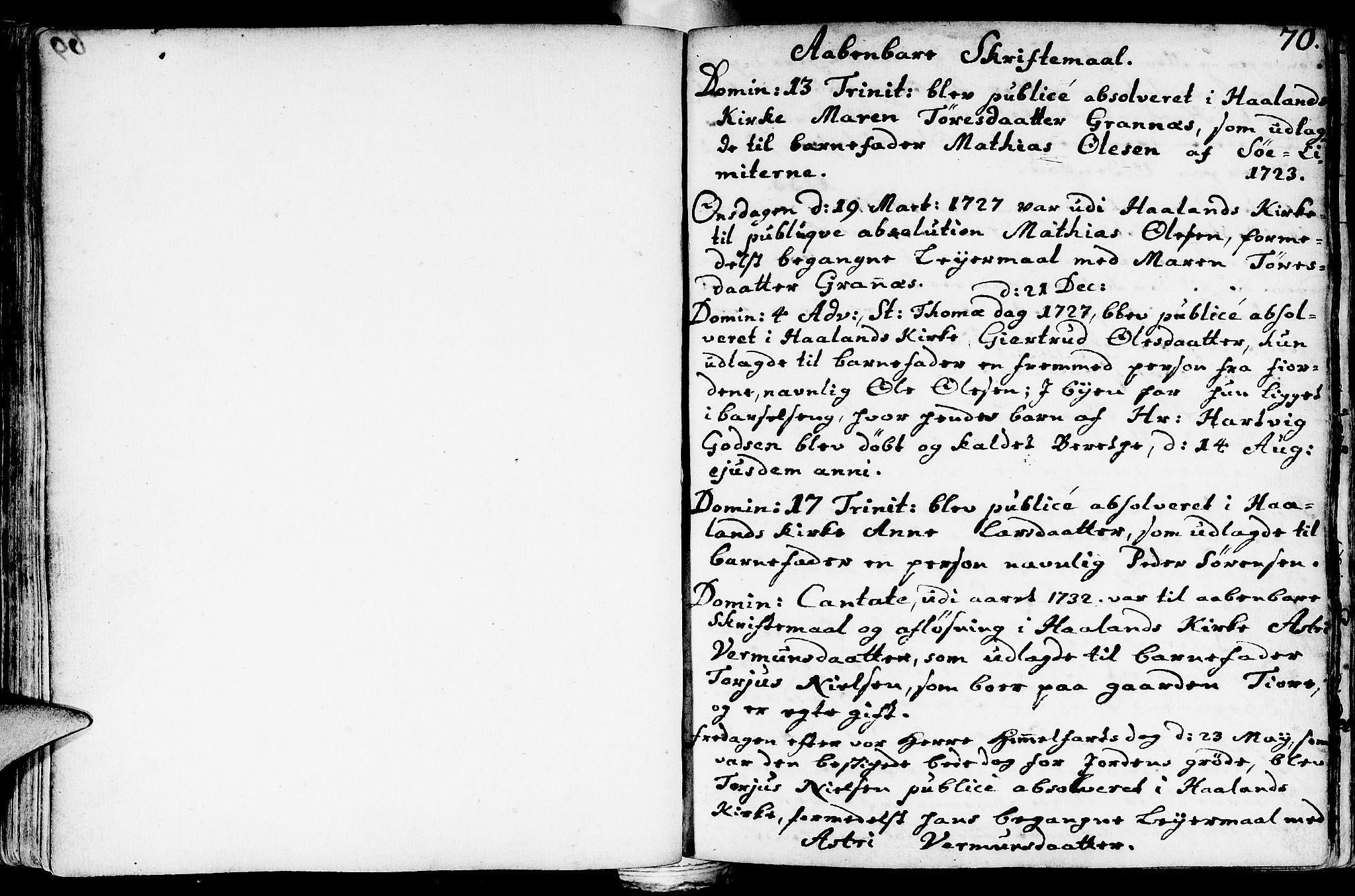 SAST, Håland sokneprestkontor, 30BA/L0002: Ministerialbok nr. A 2, 1722-1794, s. 70