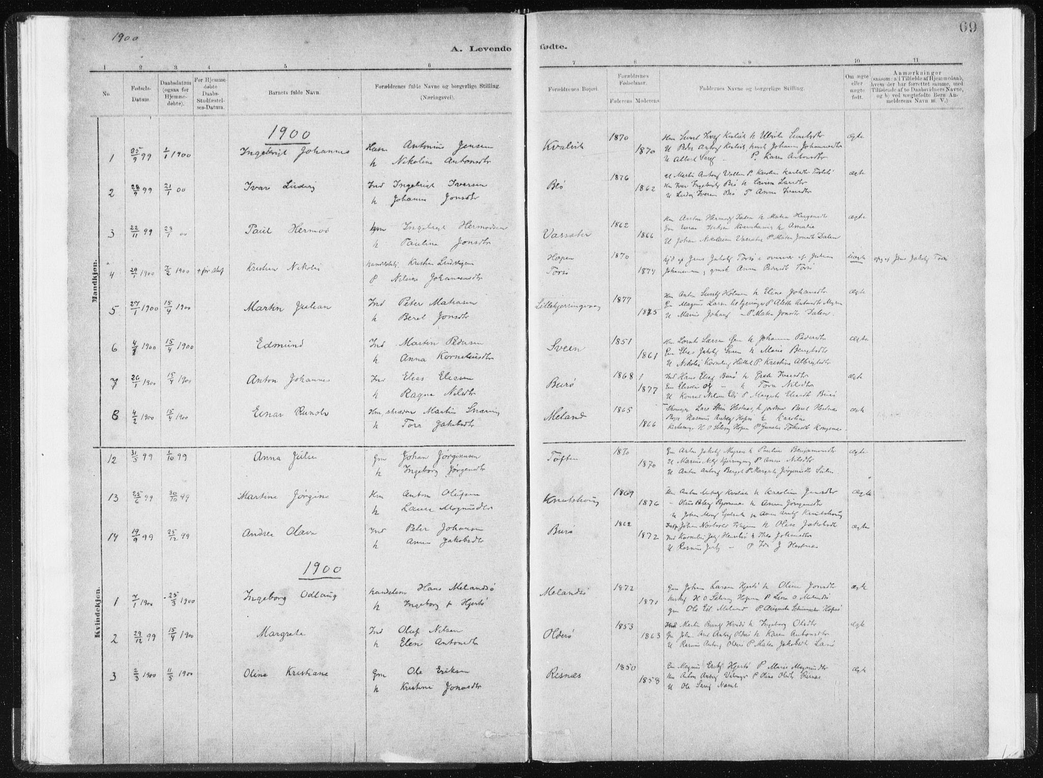 SAT, Ministerialprotokoller, klokkerbøker og fødselsregistre - Sør-Trøndelag, 634/L0533: Ministerialbok nr. 634A09, 1882-1901, s. 69