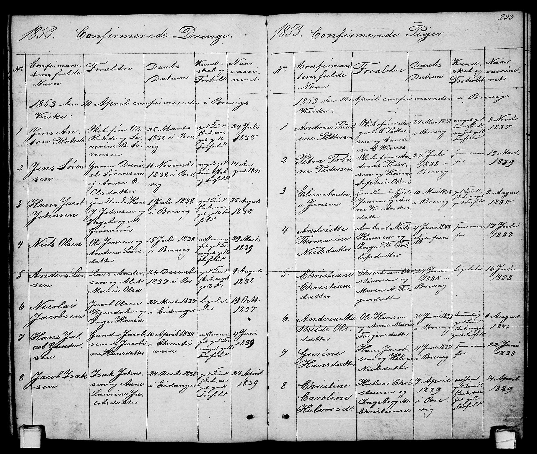 SAKO, Brevik kirkebøker, G/Ga/L0002: Klokkerbok nr. 2, 1846-1865, s. 233