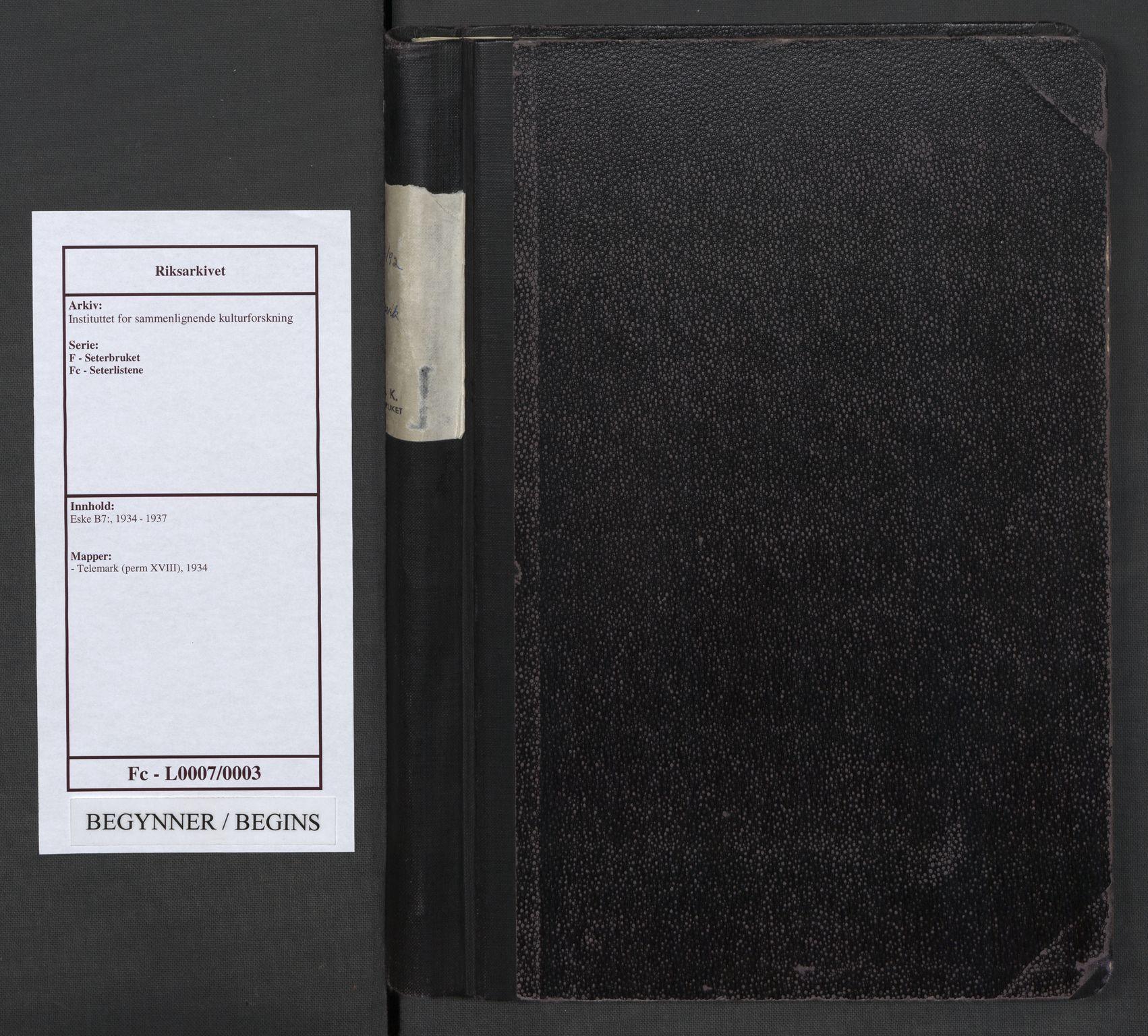 RA, Instituttet for sammenlignende kulturforskning, F/Fc/L0007: Eske B7:, 1934, s. upaginert