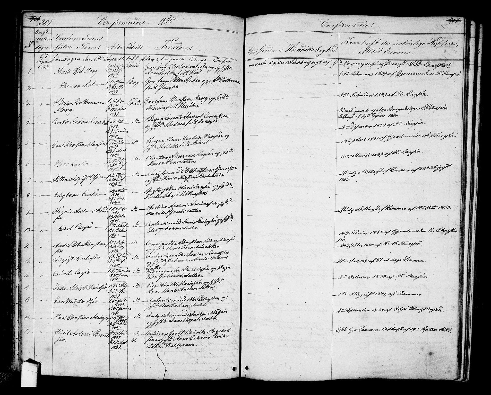 SAO, Halden prestekontor Kirkebøker, G/Ga/L0005a: Klokkerbok nr. 5A, 1855-1864, s. 201