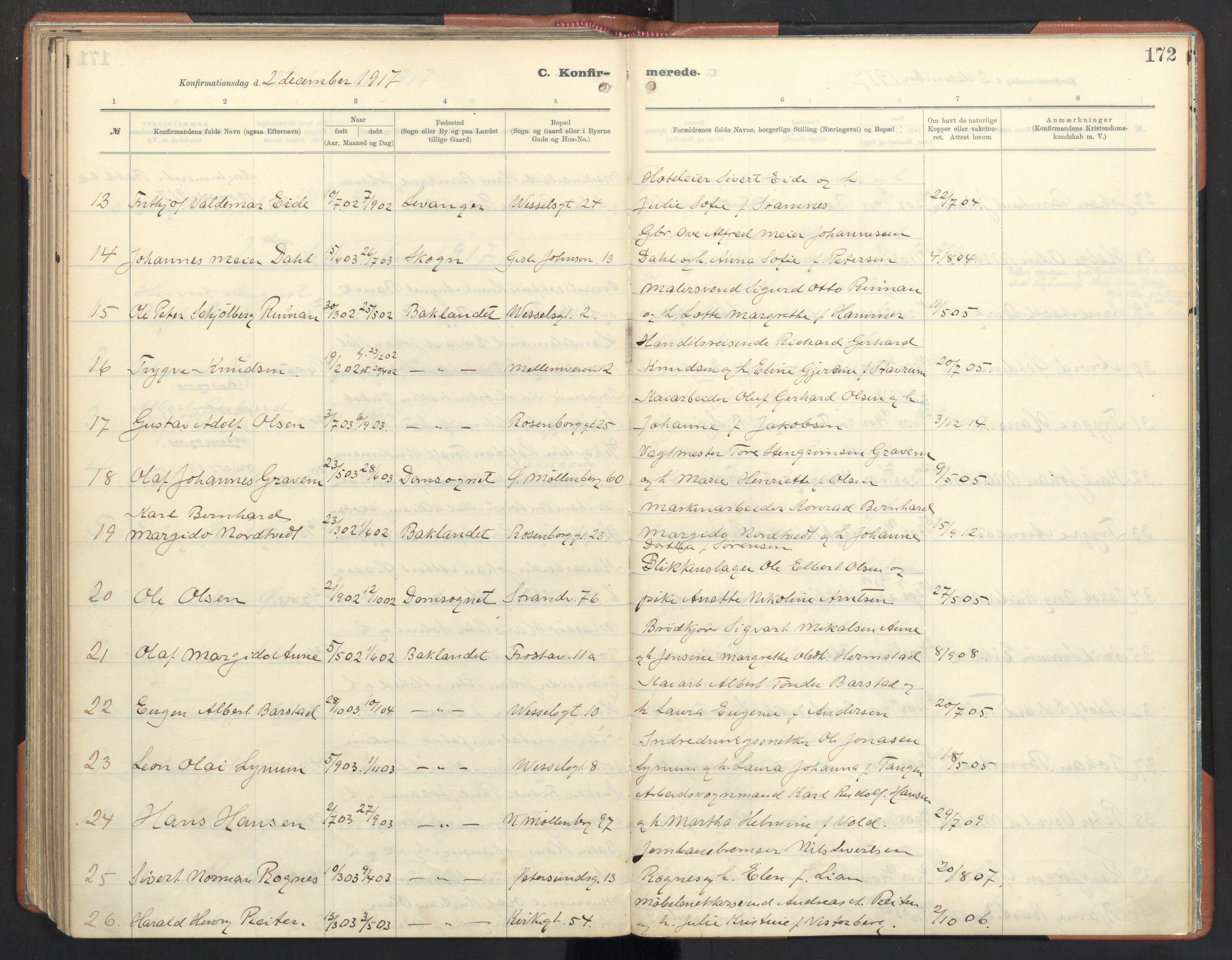 SAT, Ministerialprotokoller, klokkerbøker og fødselsregistre - Sør-Trøndelag, 605/L0246: Ministerialbok nr. 605A08, 1916-1920, s. 172