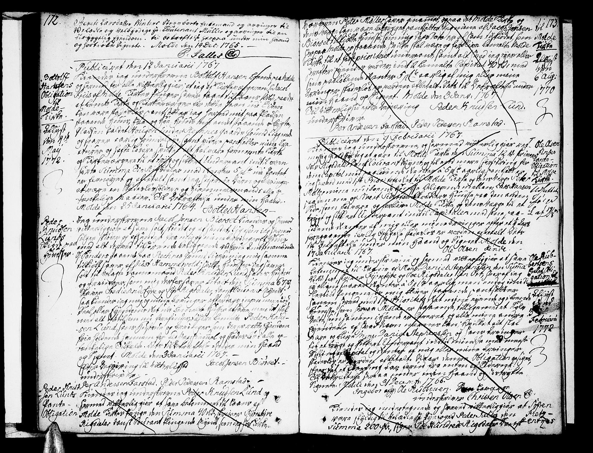 SAT, Molde byfogd, 2/2C/L0001: Pantebok nr. 1, 1748-1823, s. 172-173