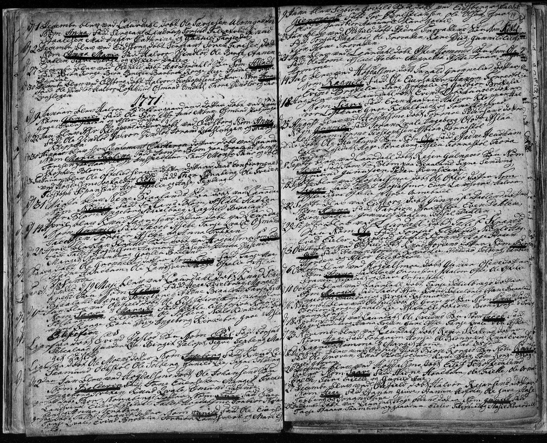 SAKO, Lårdal kirkebøker, F/Fa/L0003: Ministerialbok nr. I 3, 1754-1790, s. 19