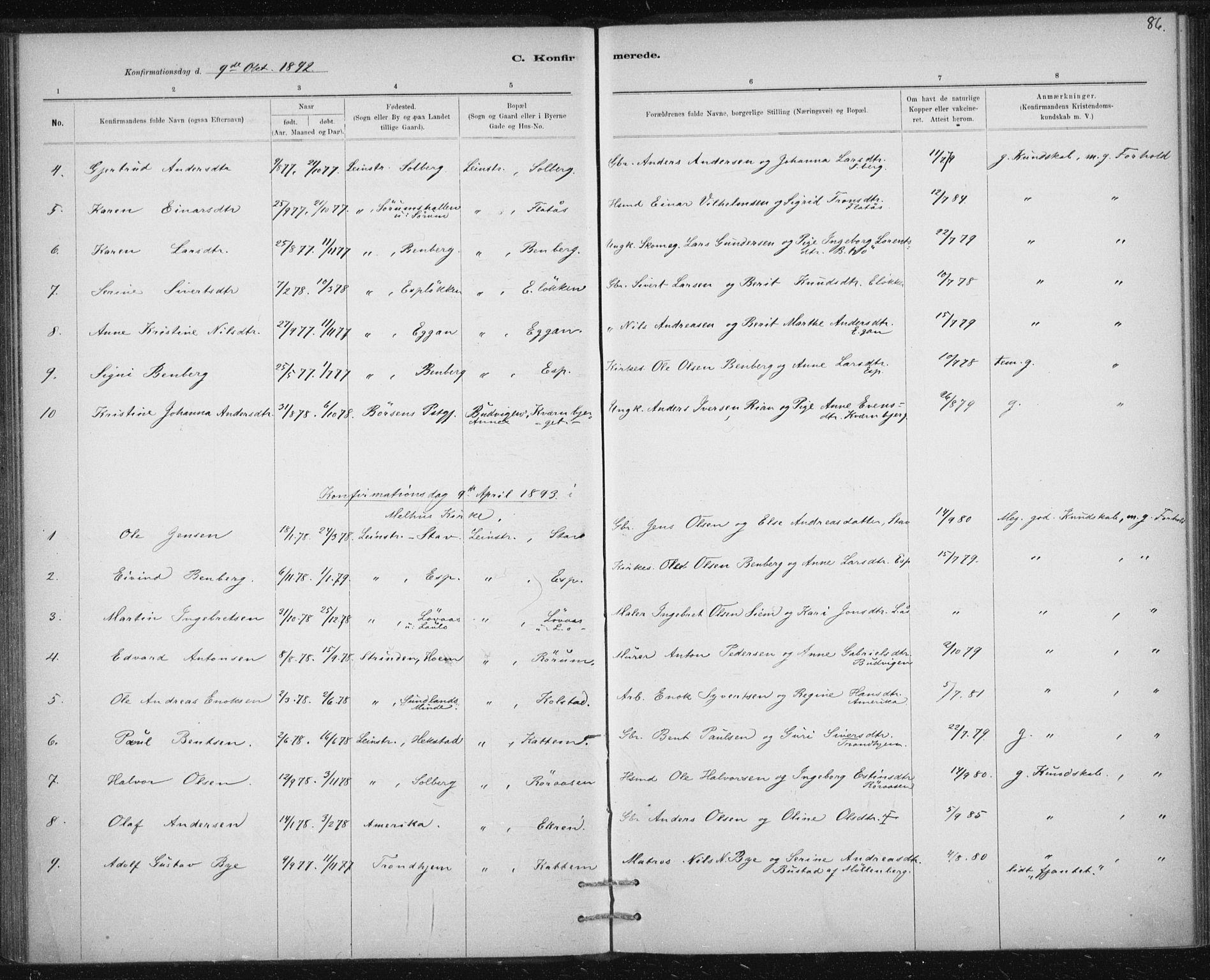 SAT, Ministerialprotokoller, klokkerbøker og fødselsregistre - Sør-Trøndelag, 613/L0392: Ministerialbok nr. 613A01, 1887-1906, s. 86