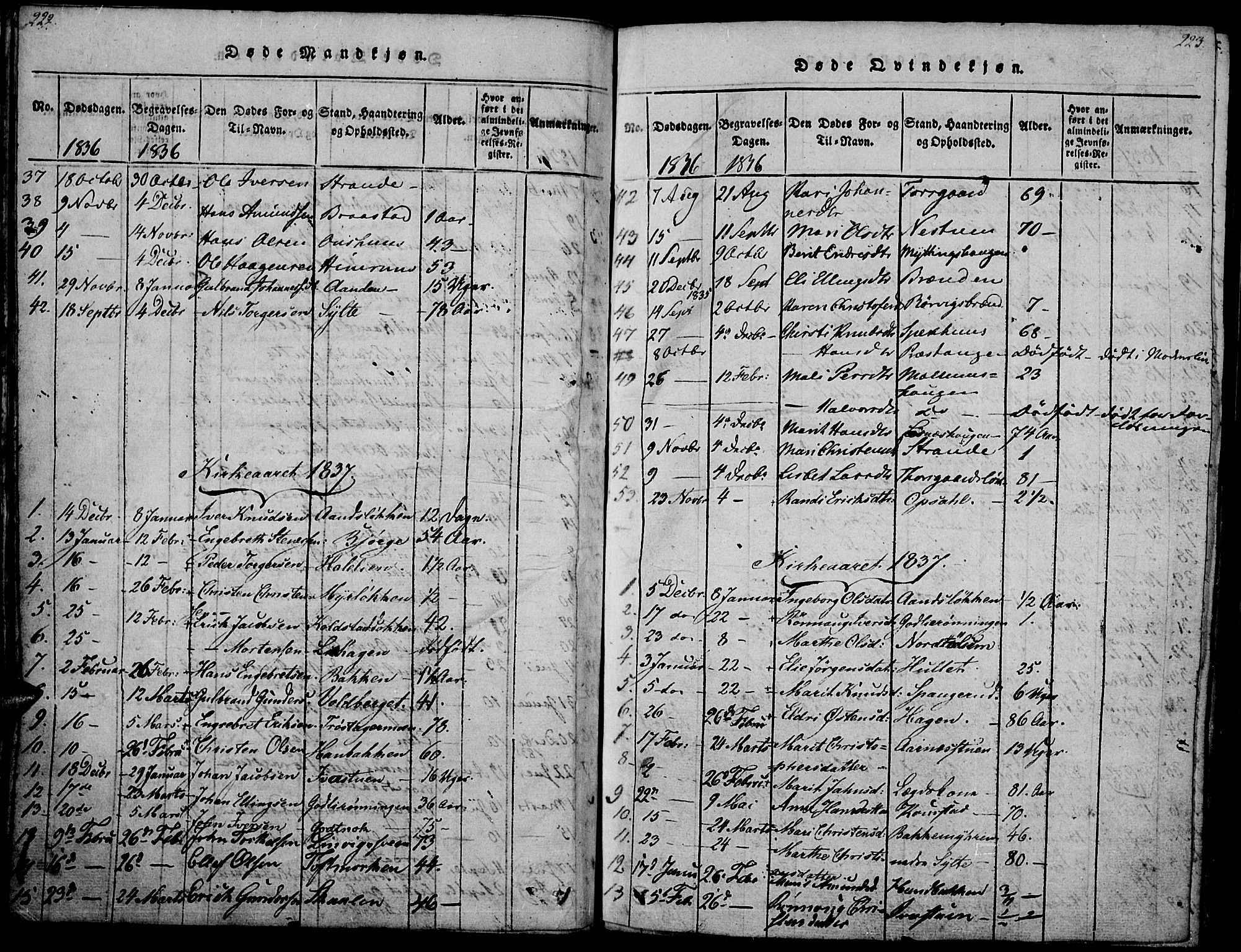 SAH, Ringebu prestekontor, Ministerialbok nr. 4, 1821-1839, s. 222-223