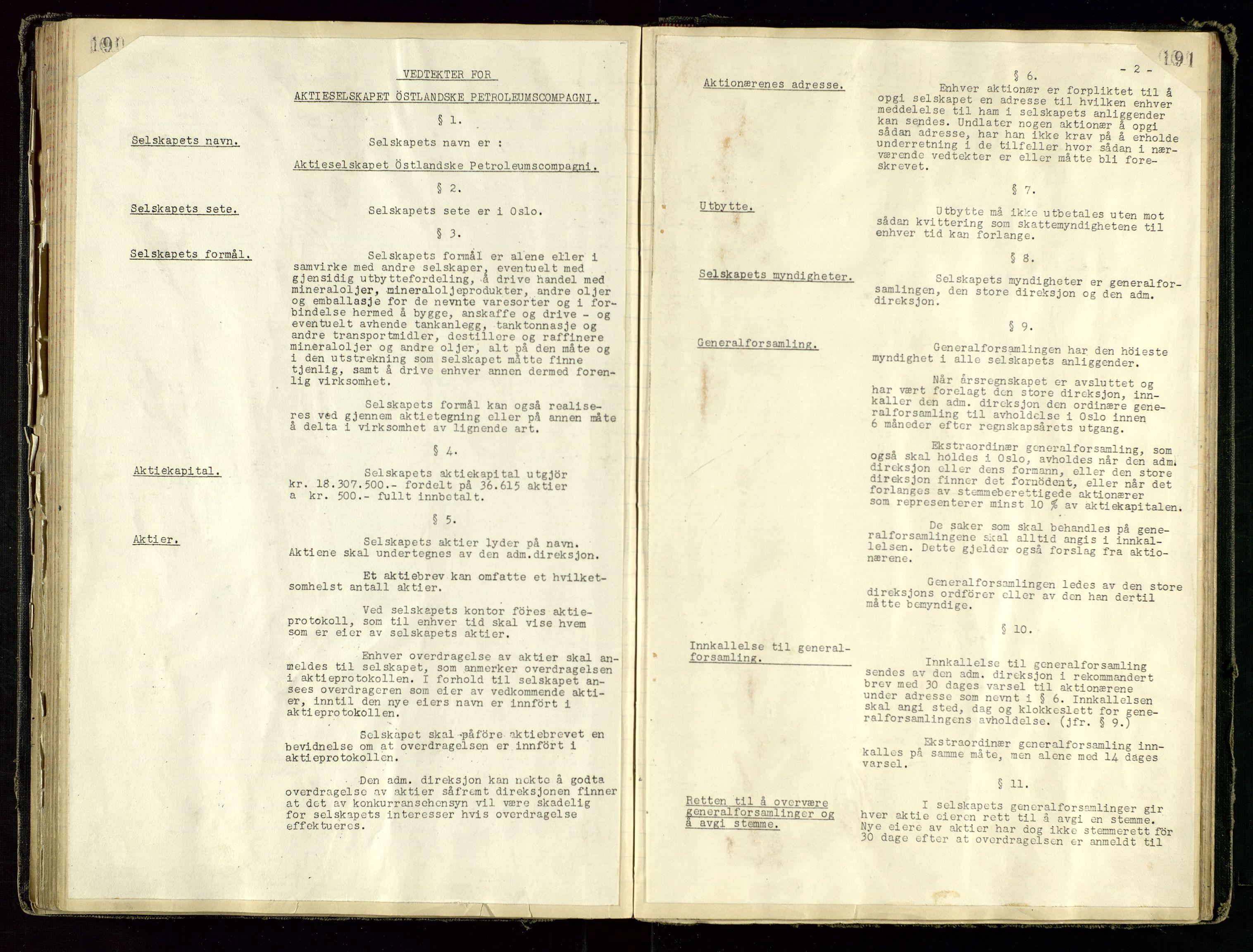 SAST, PA 1534 - Østlandske Petroleumscompagni A/S, A/Aa/L0001: Generalforsamlinger og direksjonsprotokoller., 1892-1960, s. 190-191