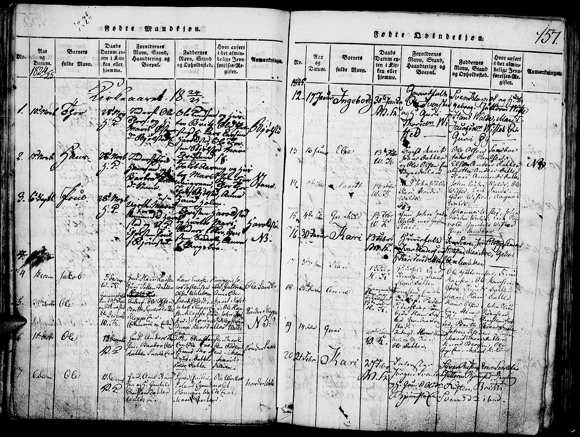 SAH, Vågå prestekontor, Klokkerbok nr. 1, 1815-1827, s. 156-157