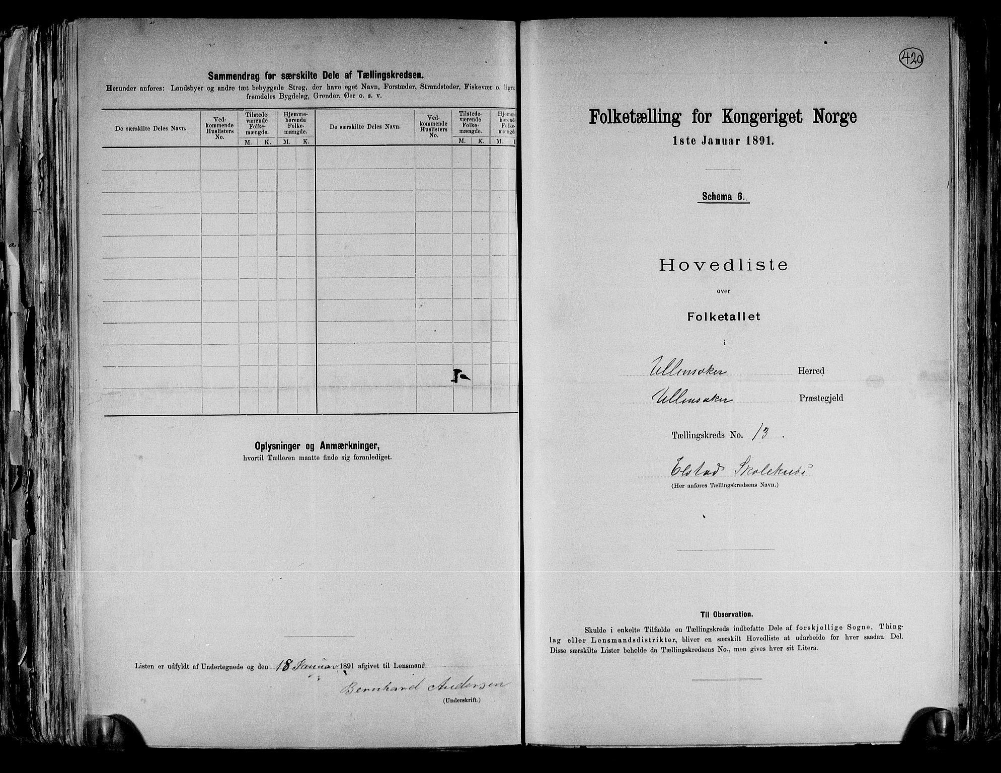 RA, Folketelling 1891 for 0235 Ullensaker herred, 1891, s. 31