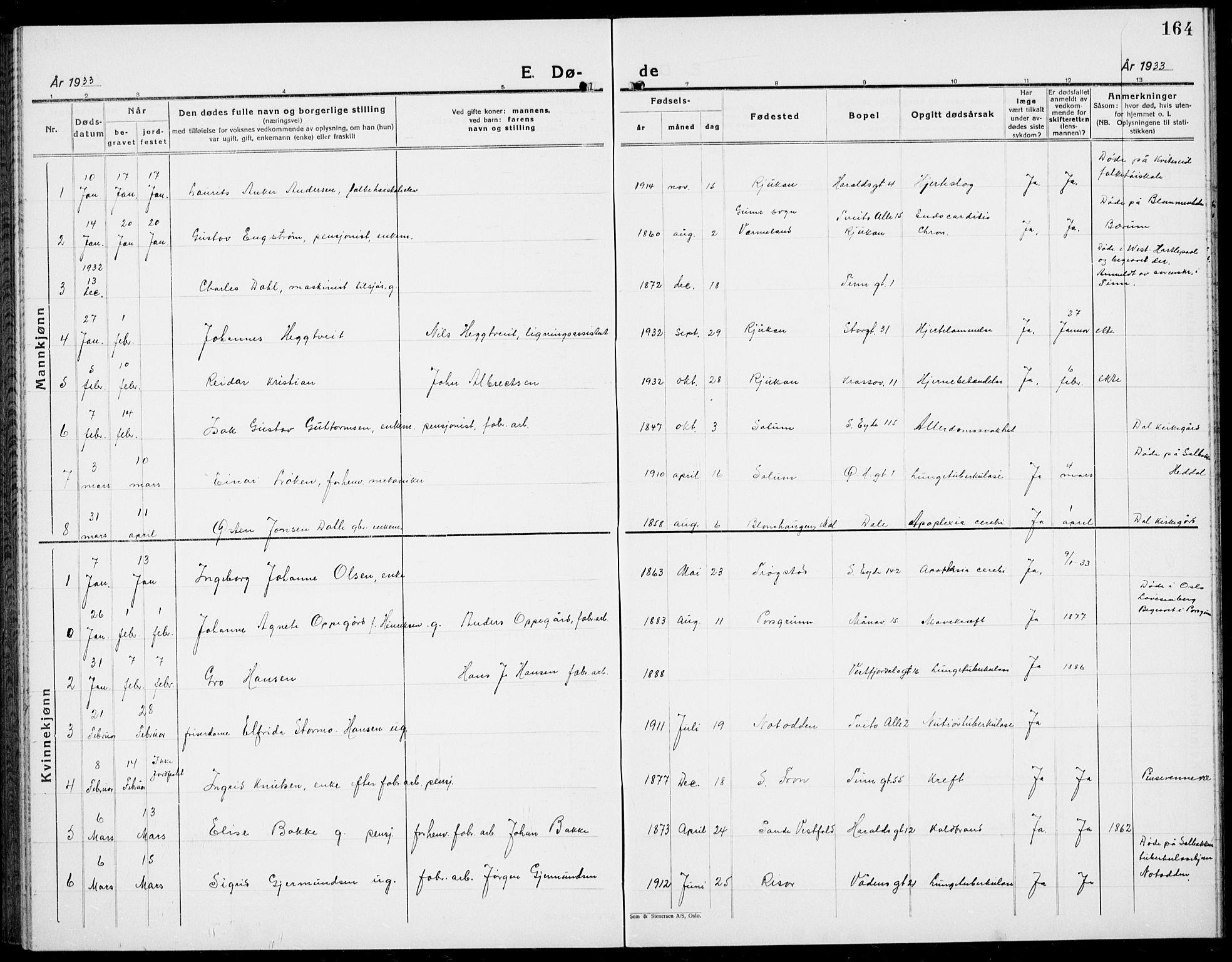 SAKO, Rjukan kirkebøker, G/Ga/L0005: Klokkerbok nr. 5, 1928-1937, s. 164