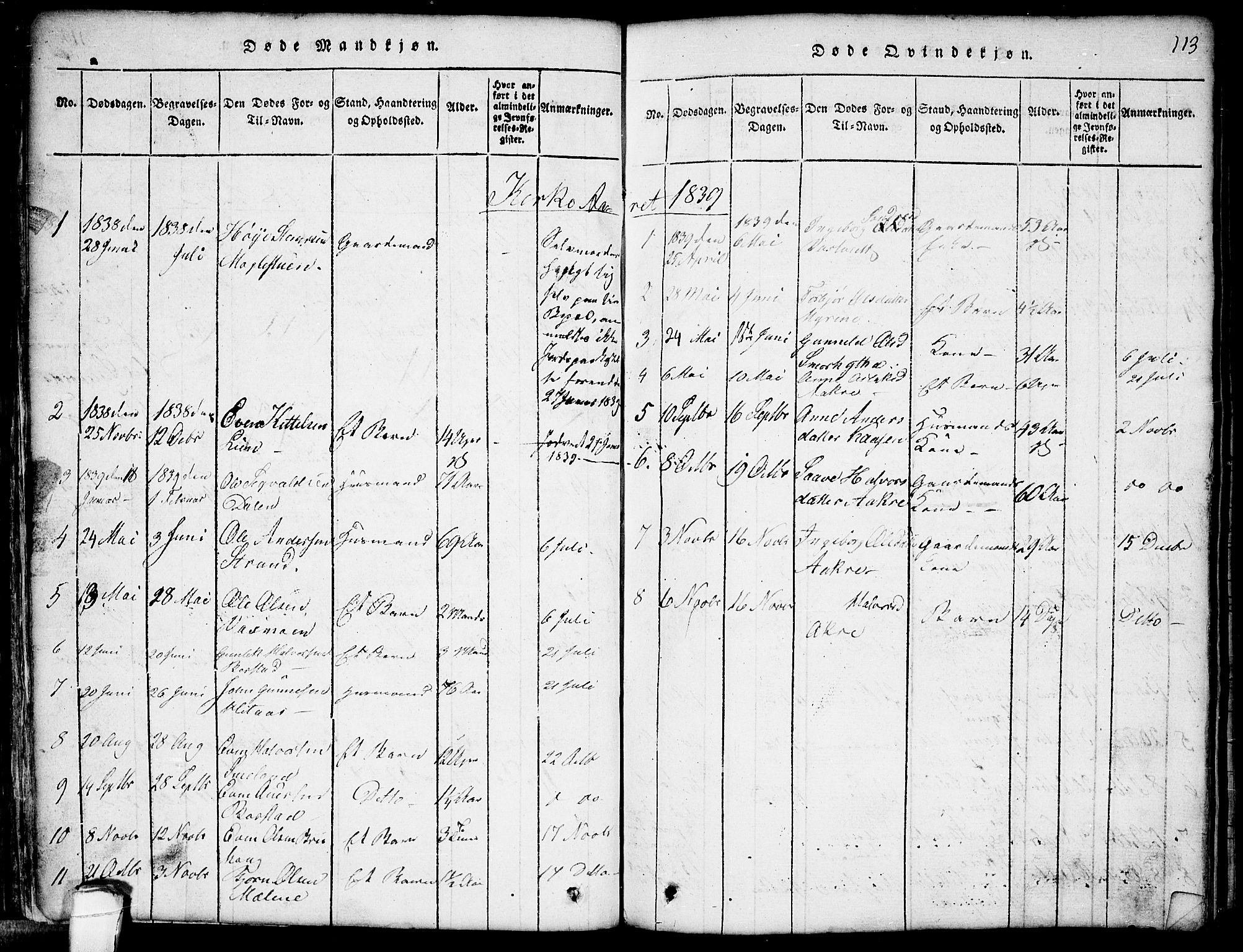 SAKO, Seljord kirkebøker, G/Gb/L0002: Klokkerbok nr. II 2, 1815-1854, s. 113