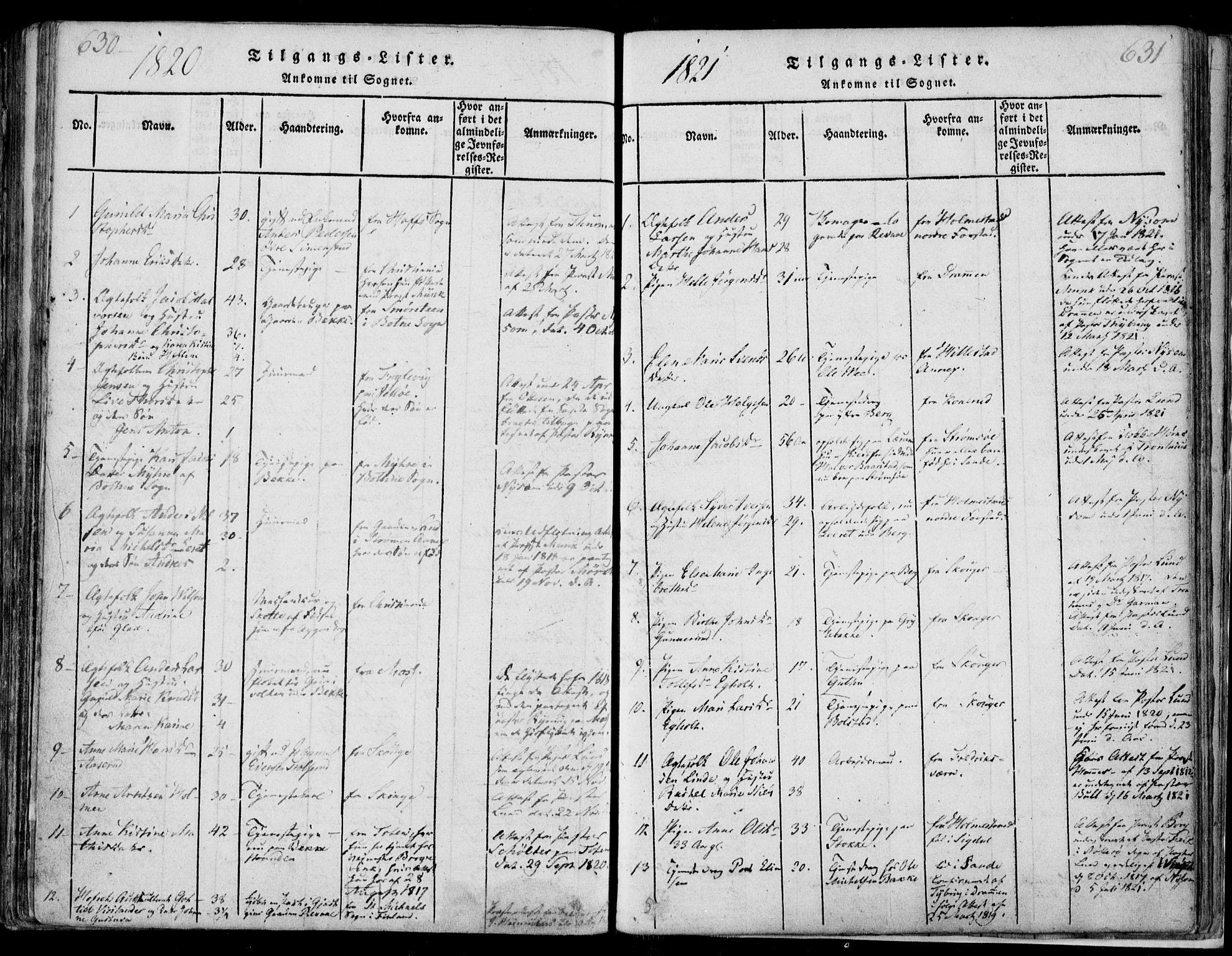 SAKO, Sande Kirkebøker, F/Fa/L0003: Ministerialbok nr. 3, 1814-1847, s. 630-631