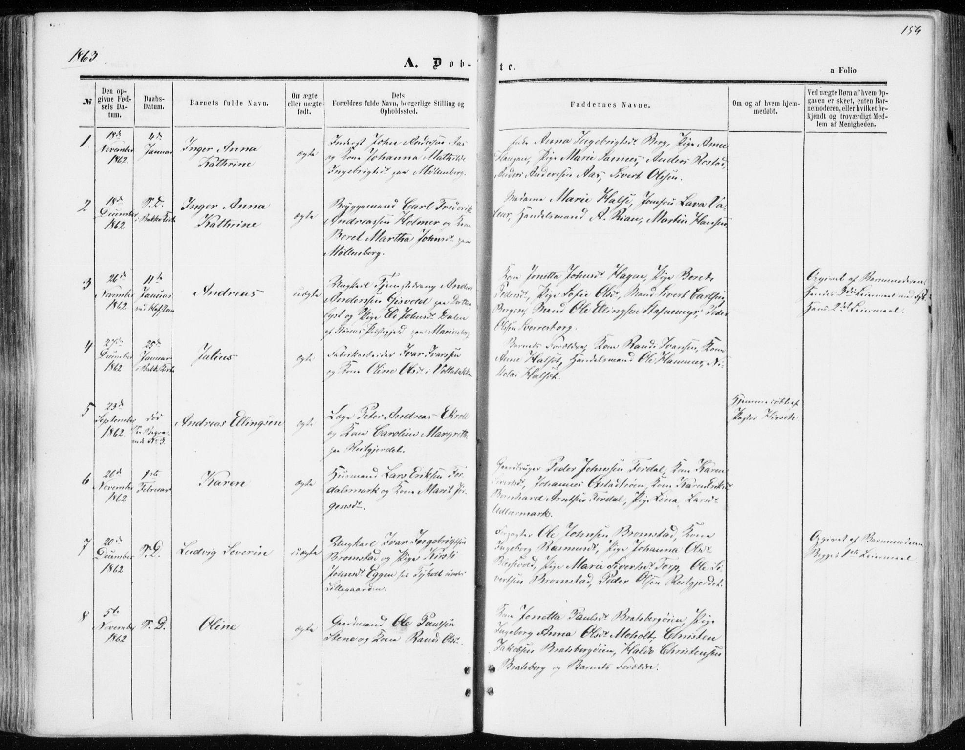 SAT, Ministerialprotokoller, klokkerbøker og fødselsregistre - Sør-Trøndelag, 606/L0292: Ministerialbok nr. 606A07, 1856-1865, s. 154