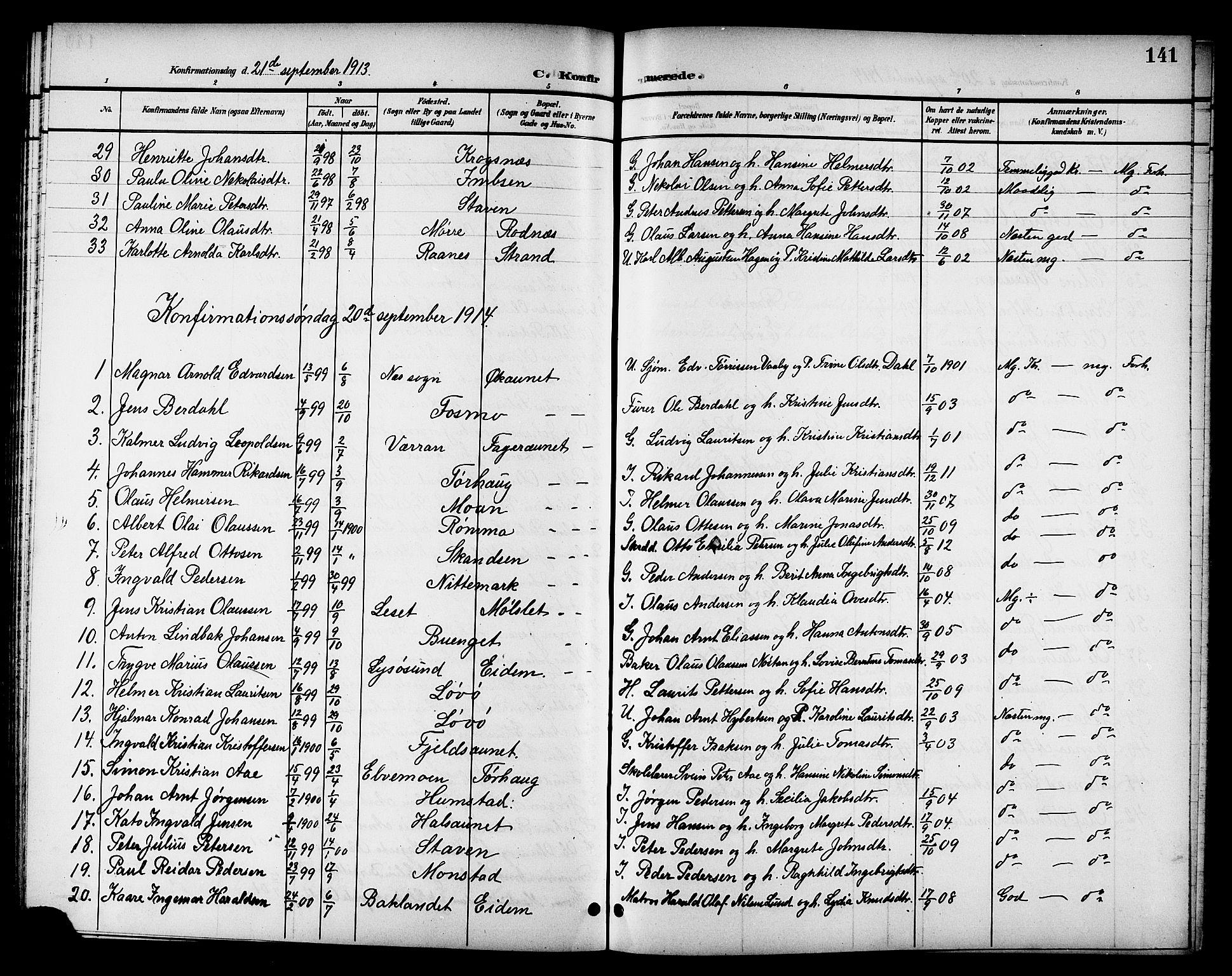 SAT, Ministerialprotokoller, klokkerbøker og fødselsregistre - Sør-Trøndelag, 655/L0688: Klokkerbok nr. 655C04, 1899-1922, s. 141