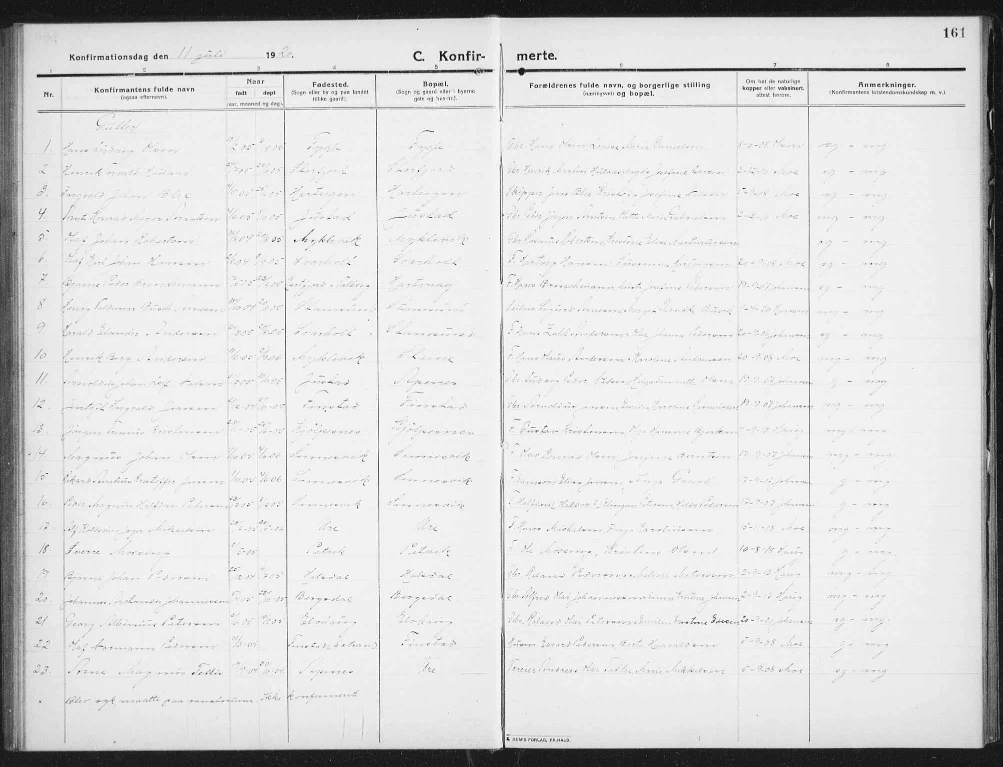 SAT, Ministerialprotokoller, klokkerbøker og fødselsregistre - Nordland, 882/L1183: Klokkerbok nr. 882C01, 1911-1938, s. 161