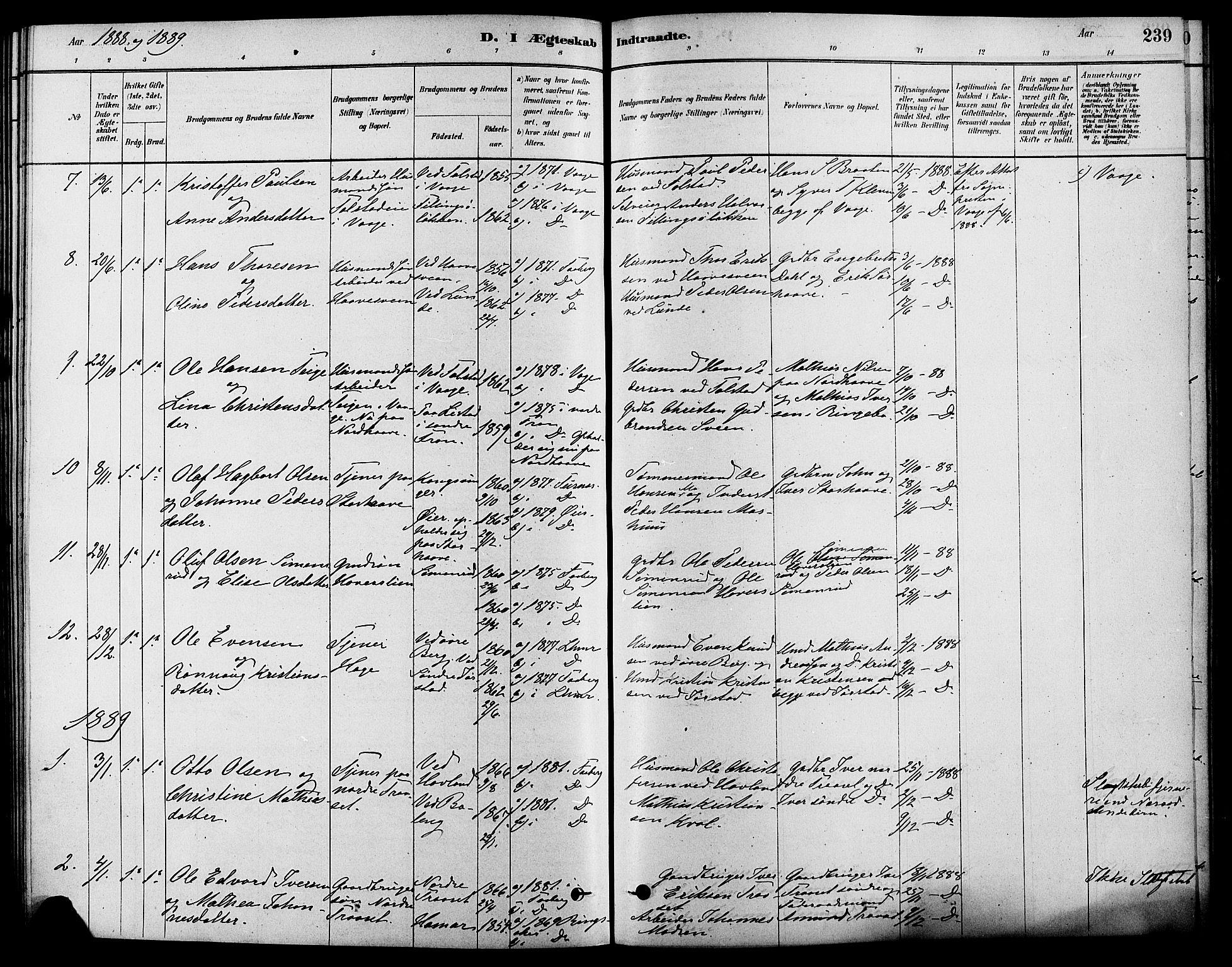 SAH, Fåberg prestekontor, Ministerialbok nr. 8, 1879-1898, s. 239
