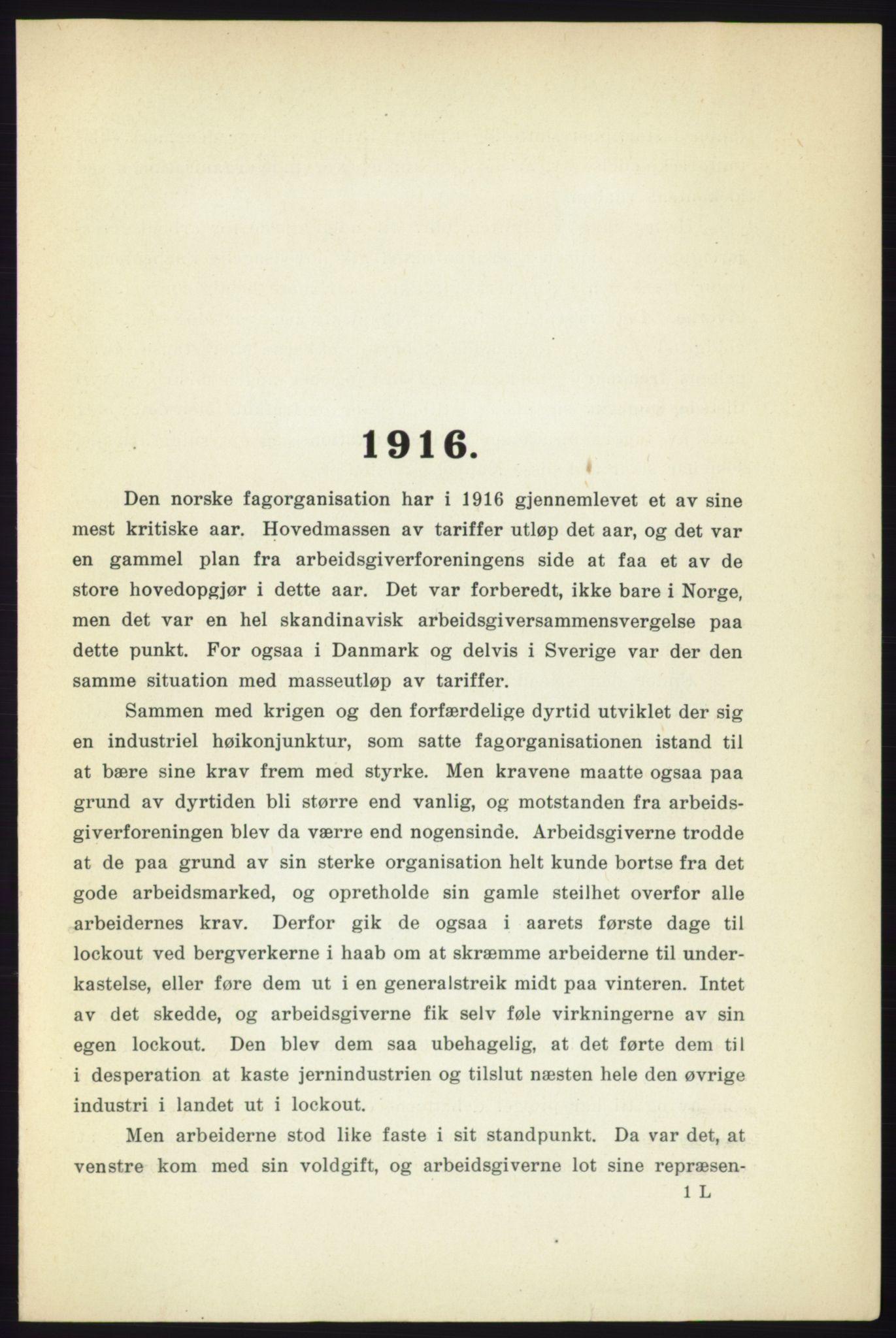 AAB, Landsorganisasjonen i Norge - publikasjoner, -/-: Landsorganisationens beretning for 1916, 1916, s. 1