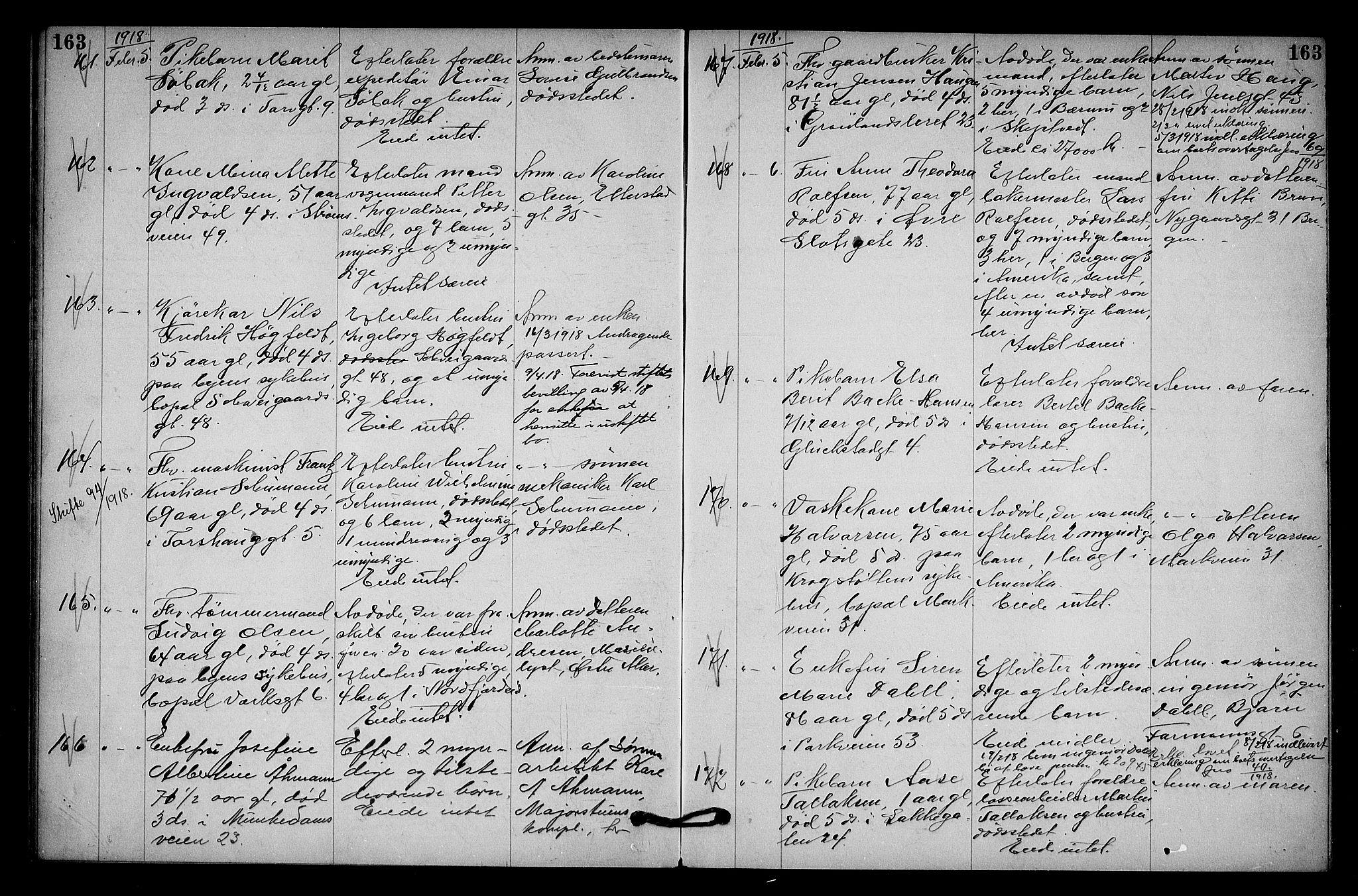 SAO, Oslo skifterett, G/Ga/Gab/L0009: Dødsfallsprotokoll, 1917-1918, s. 163